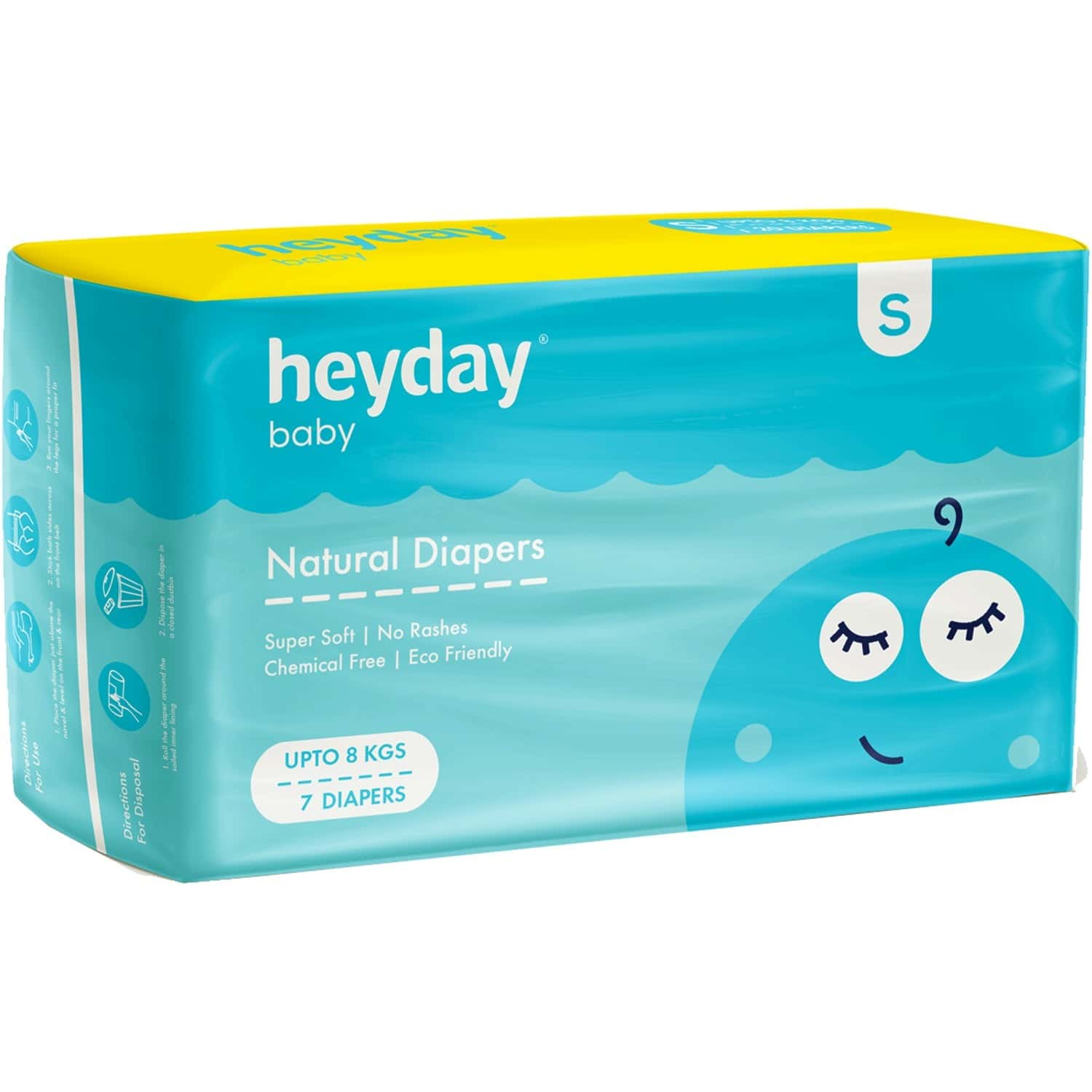 Heyday Natural & Organic Small Baby Diapers (7 Diapers   Upto 8 Kg)