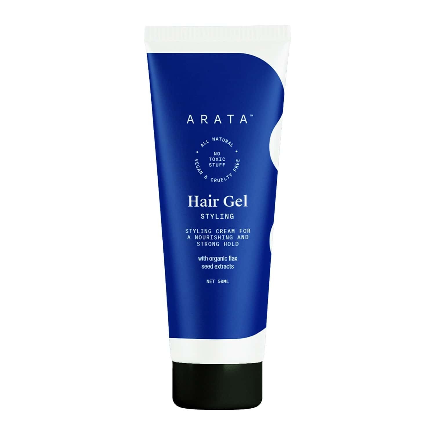 Arata Natural Hair Gel For Studio Styling, Shaping, Strong Hold And Nourishment With Organic Flaxseed And Olive Extracts For Men/women (50 Ml)