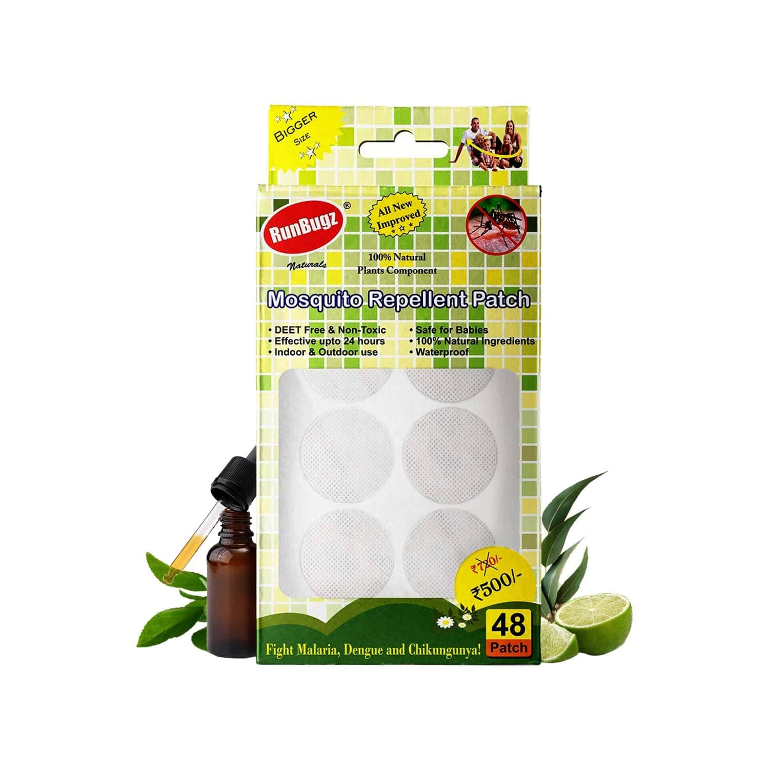 Runbugz Mosquito Repellent Patches (pack Of 48)- White