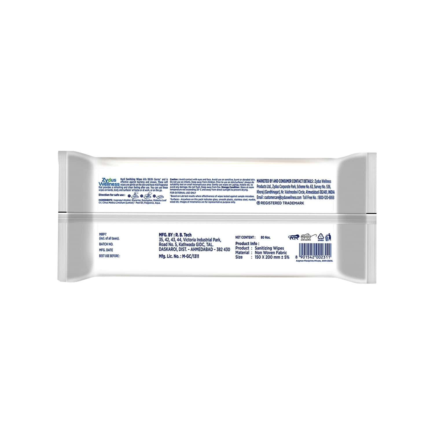 Nycil Thick And Soft Sanitizing Wipes - 80 Wipes