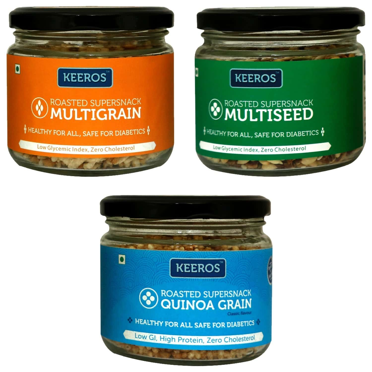 Keeros Healthy Roasted Super Snack - Combo Pack Of Multigrain, Multi Seeds Mix & Quinoa Grain Snack (sugar Free, Gluten Free, Protein Rich, Ready To Eat Snacks), Combo Of 3 Jars