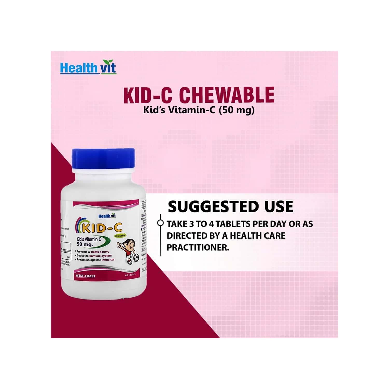 Healthvit Kid-c Kid's Vitamin-c Chewable - 60 Tablets ( Pack Of 2 )