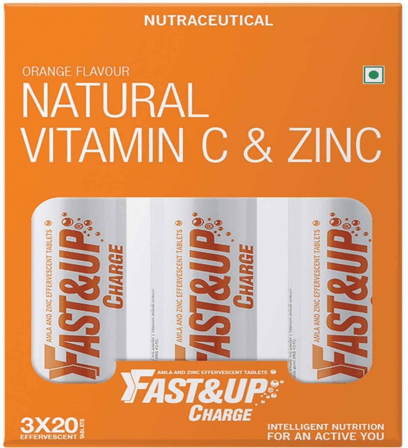 Fast And Up Charge Effervescent Vitamin C And Zinc Supplements Orange Tablet (3*20)
