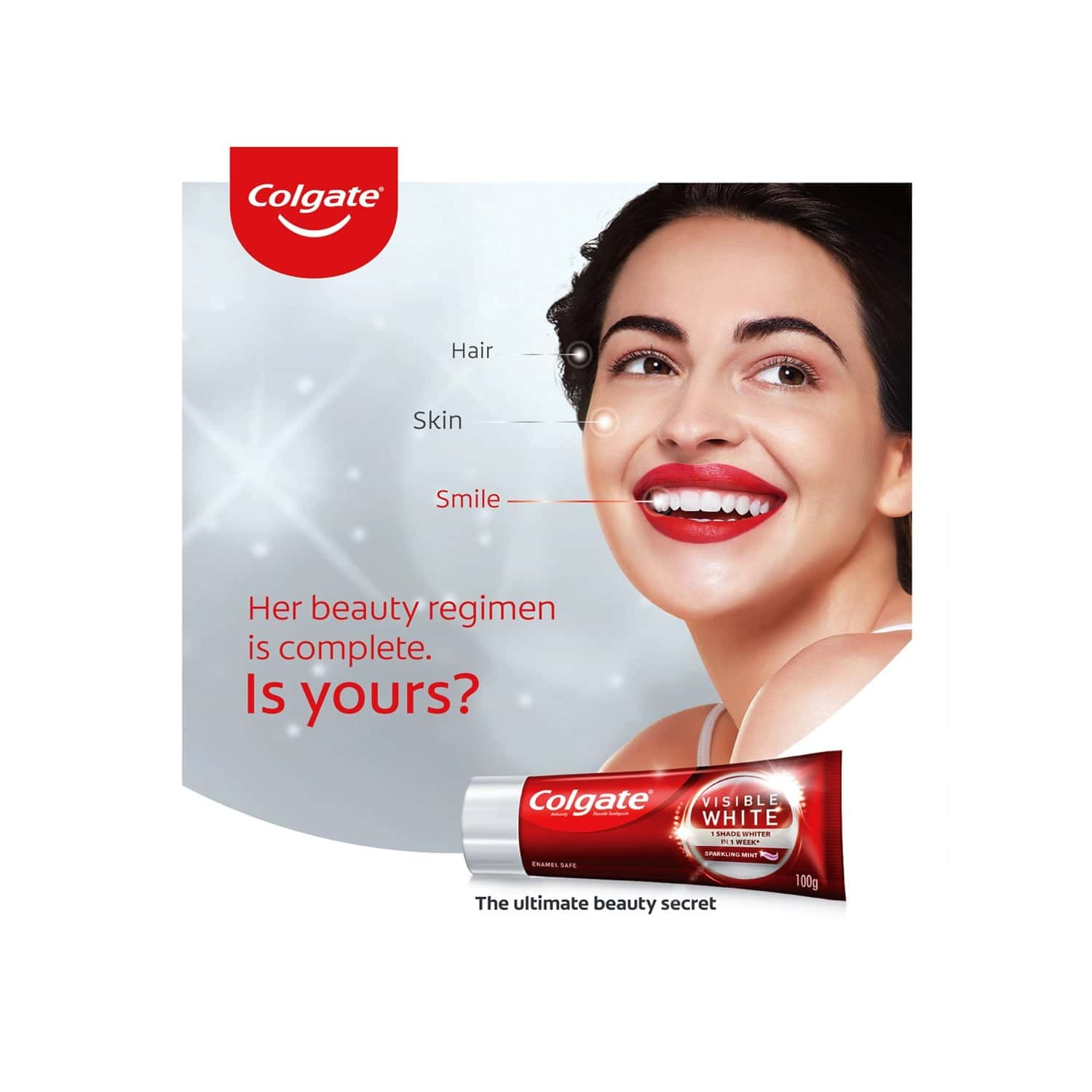 Colgate Visible White Teeth Whitening Toothpaste, Protects Enamel, Removes Stains, With Whitening Accelerators, 100g X 4 - 400g