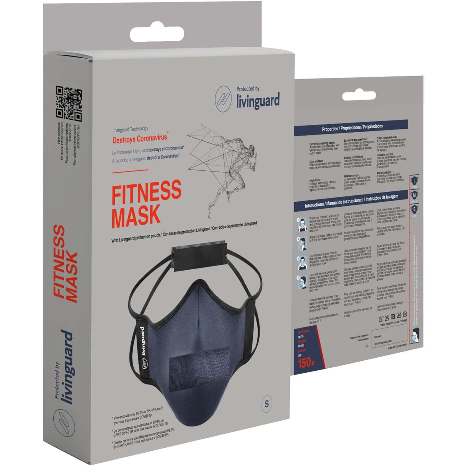 Livinguard Fitness Mask  unbeatable Breathability  anti-viral & Anti-bacterial  ultra Comfort   Non-toxic & Safe   Washable & Reusable   Steel Blue - Large