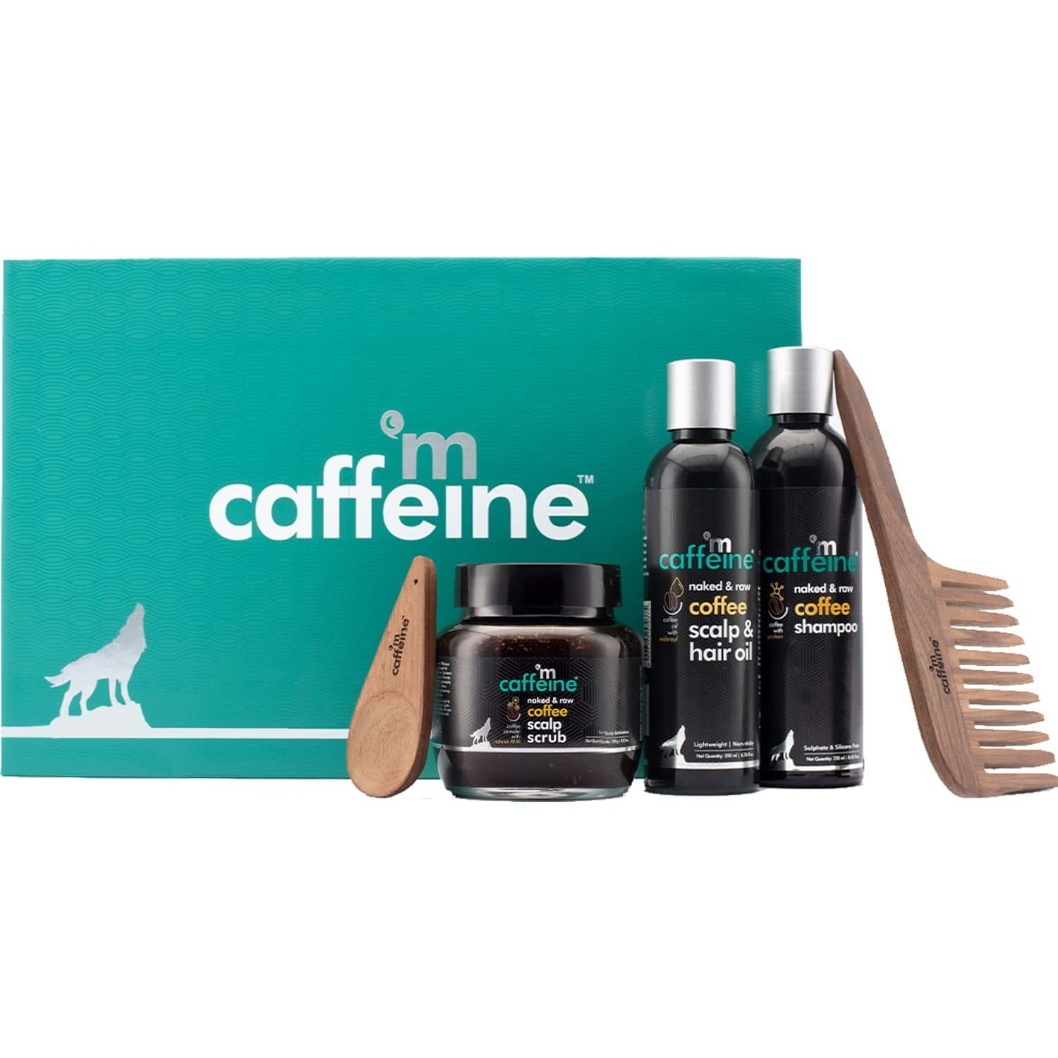Mcaffeine Limited Edition Coffee Brew Hair Care Gift Kit | Shampoo 250ml, Hair Oil 200ml, Scalp Scrub 250gm & Handcrafted Wooden Comb