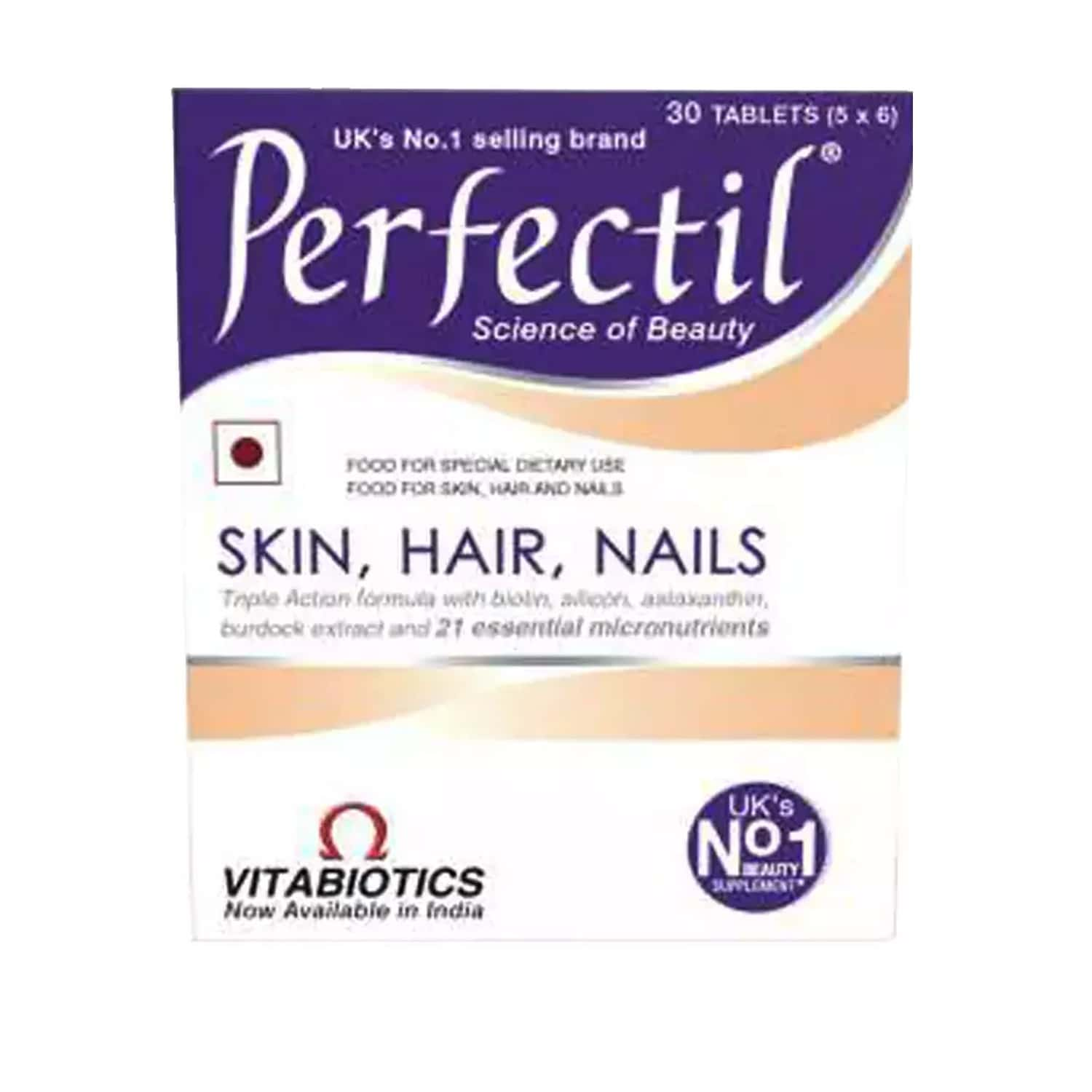 Perfectil - Skin, Hair, Nail Supplements(20 Micronutrients Including Biotin) With Wellman 30 Tablet Free