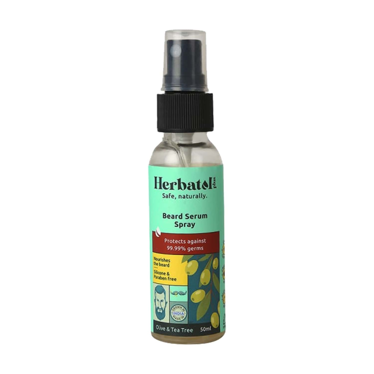 Herbatol Plus Beard Serum Spray For 99.99% Germ Protection | Enriched With Tea Tree & Olive Oil 50ml