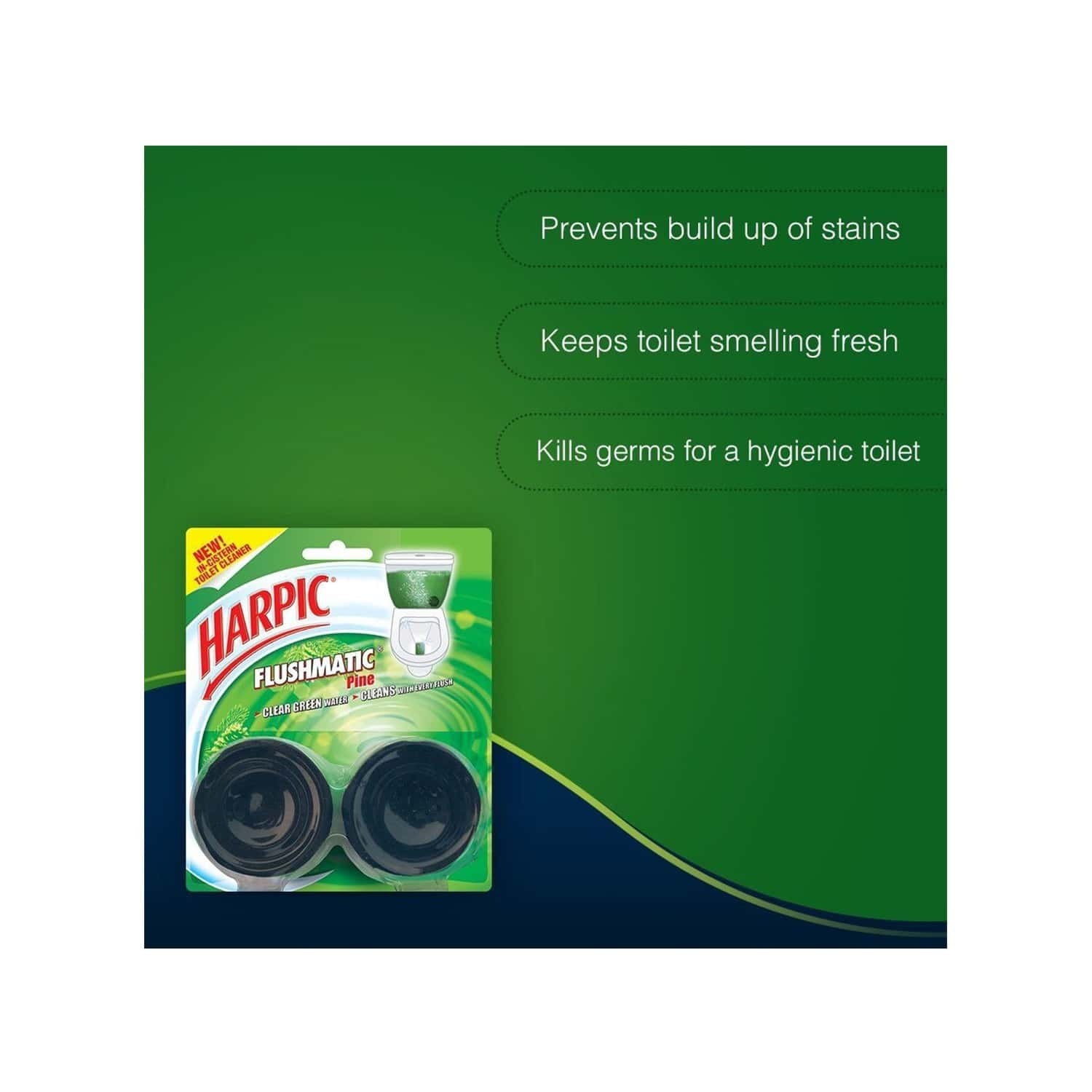 Harpic Flushmatic Pine Toilet Block (twin Pack) Packet Of 100 G
