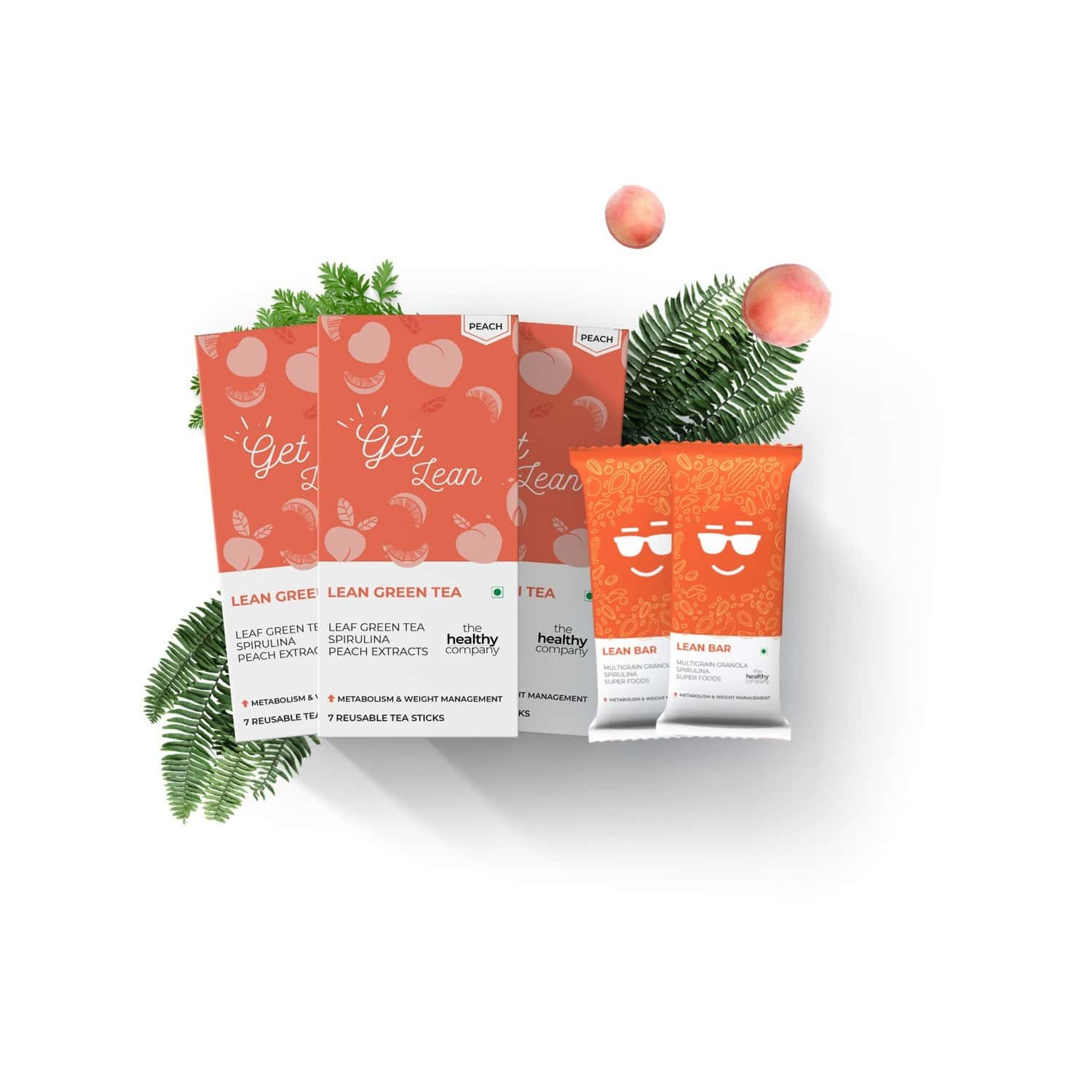 The Healthy Company One Month Weight Loss - 7 Lean Bar + 7 Mint Flavoured Natural Green Tea Sticks -diabetes Pcod Thyroid & Keto - Men & Women