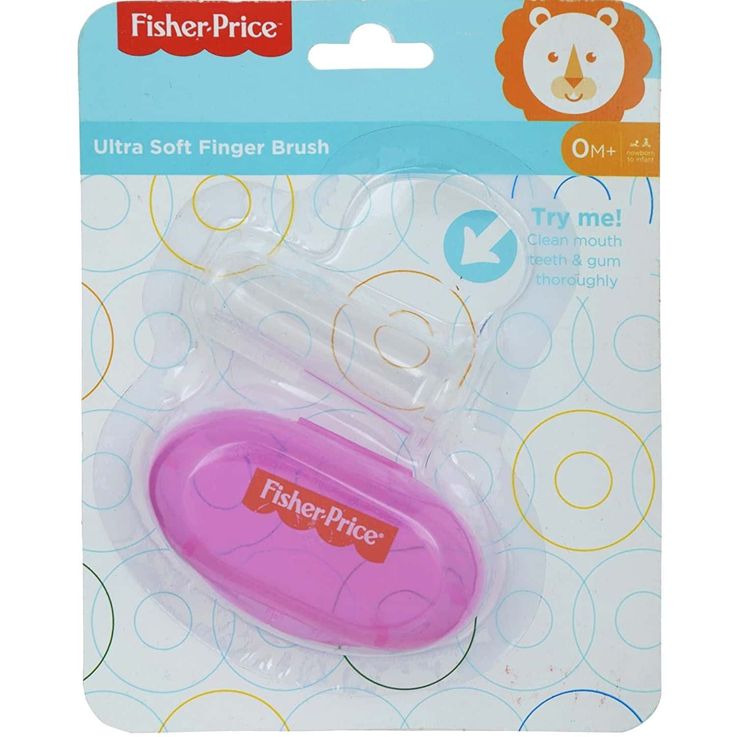 Fisher Price Silicone Baby Finger Brush With Case, One Size, Pink