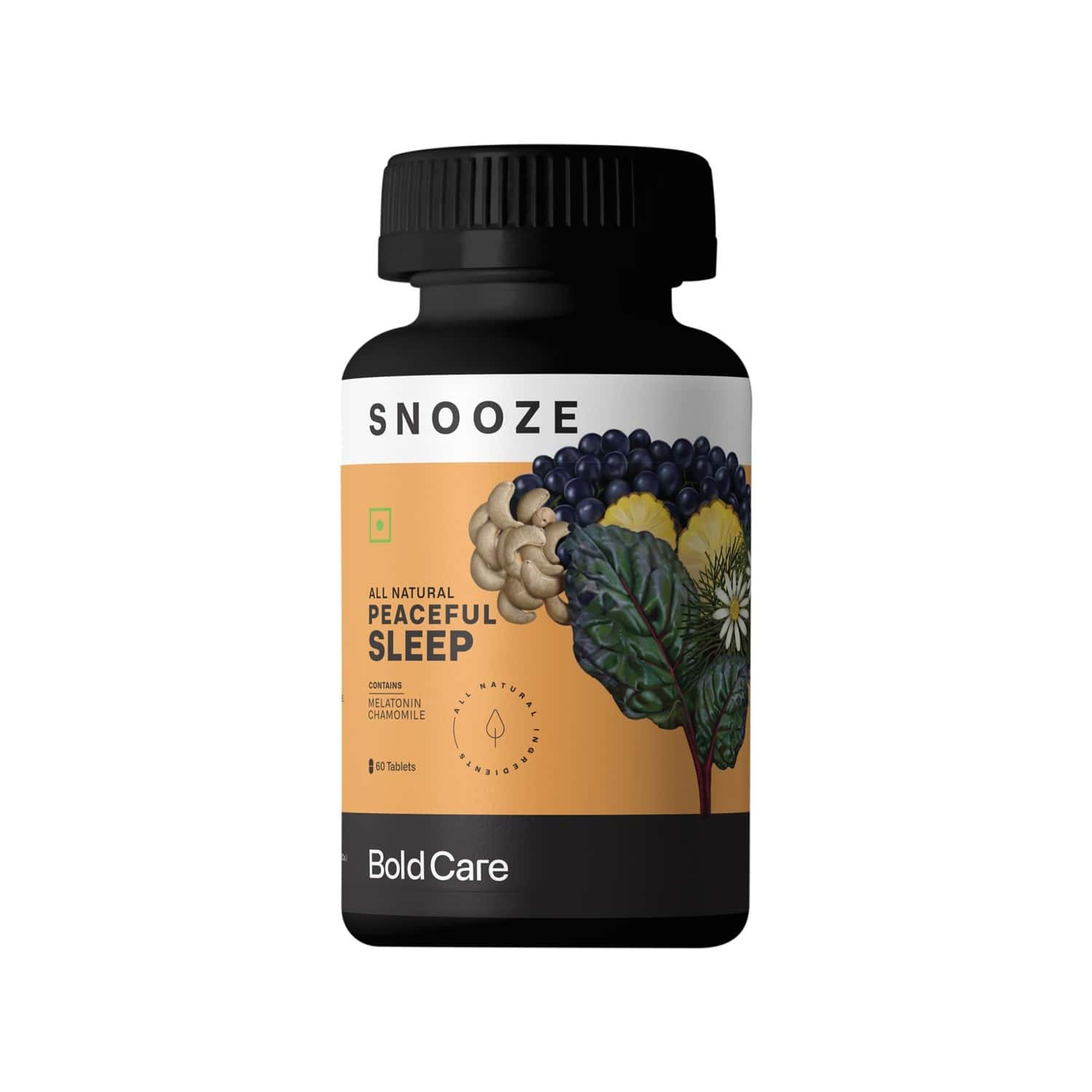 Bold Care Snooze All Natural Sleeping Pills - Melatonin 10mg, Chamomile, L Theanine & Magnesium - Supplements For Improved Sleep & Stress Management - 60 Tablets