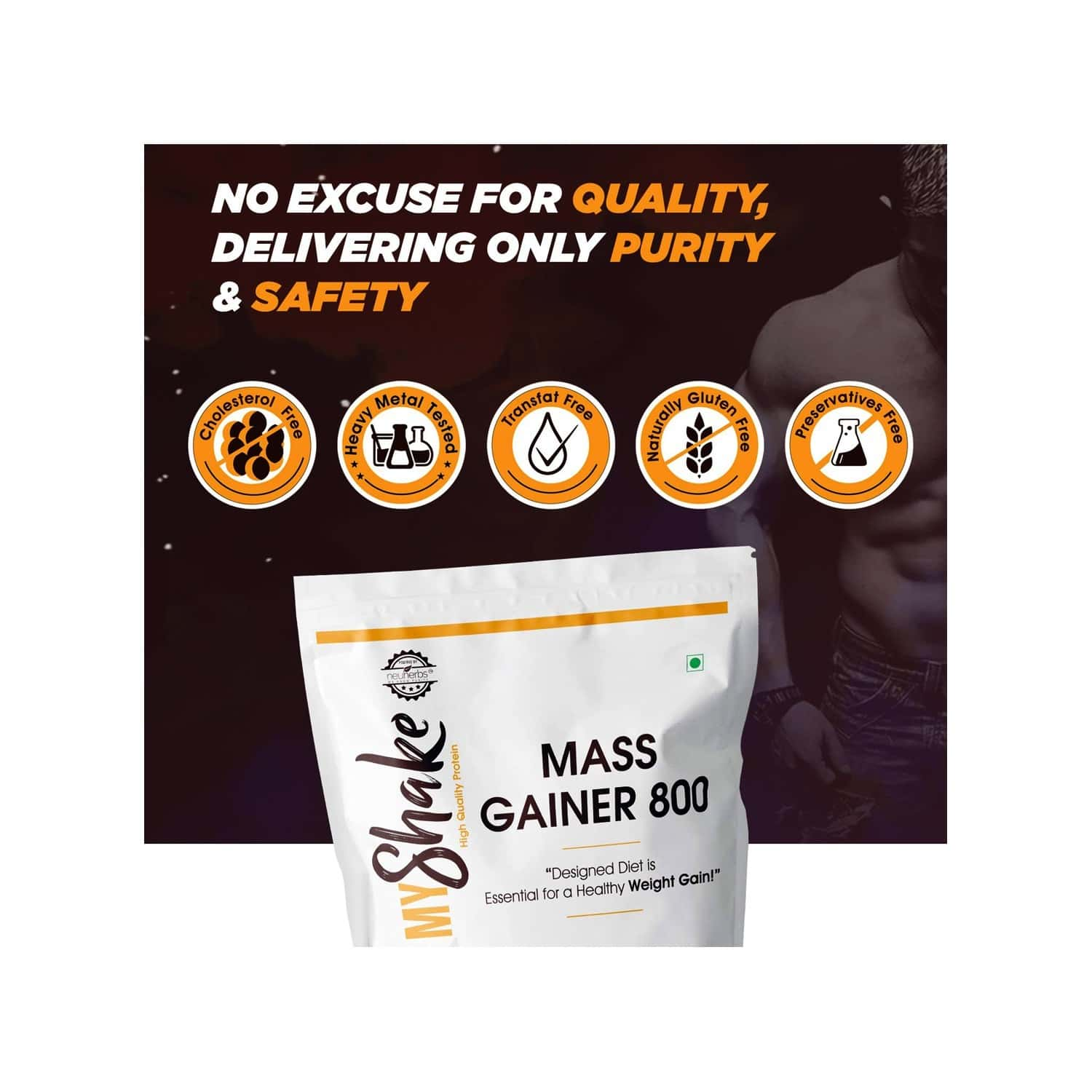 Neuherbs Myshake Mass Gainer 800 - Weight Gain With Protein, Fibers & Vitamins - 34 Grams Of Protein, 136 G Of Carbs - 1kg ( Chocolate Flavour )