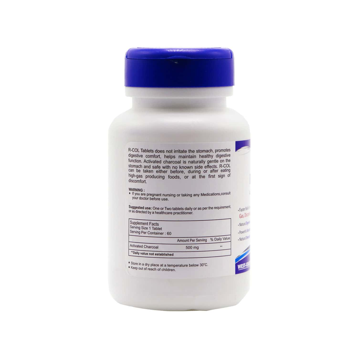 Healthvit R-col Activated Charcoal 500mg - 60 Tablets