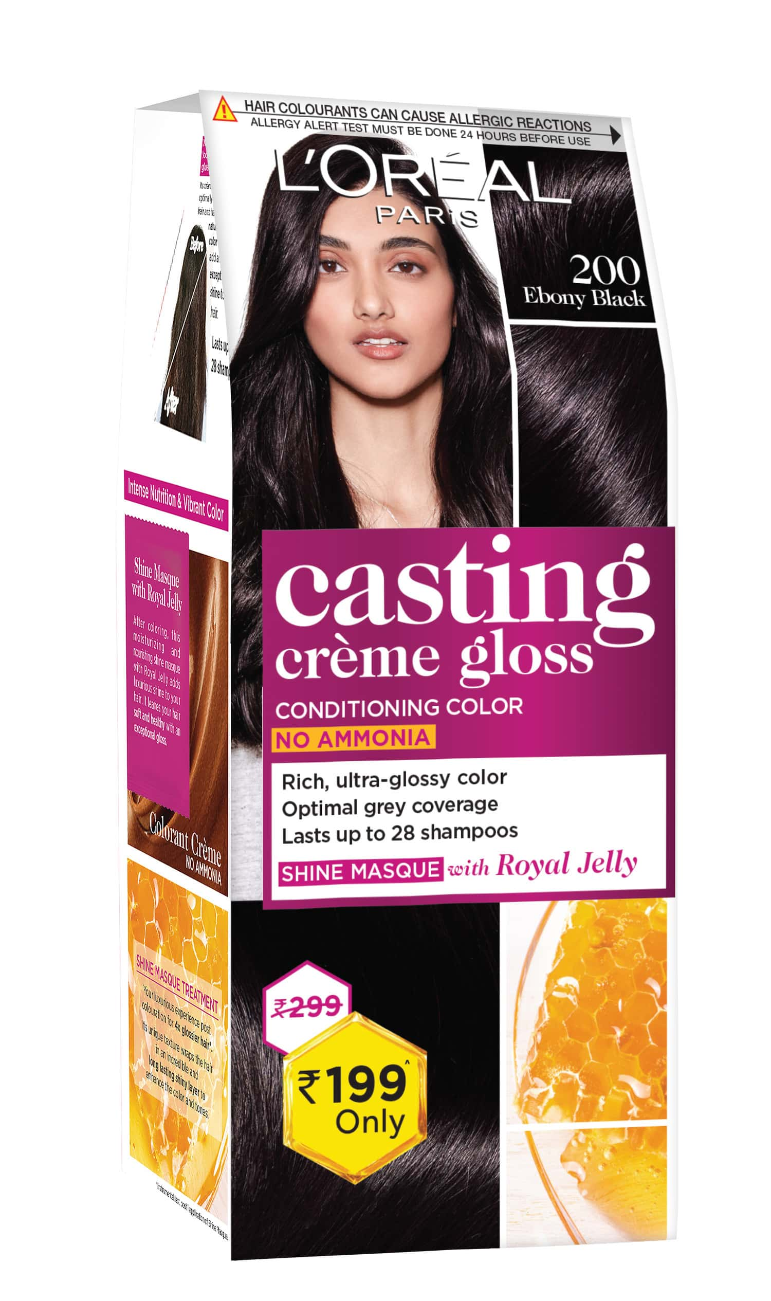 L'oreal Paris Casting Creme Gloss Small Pack 200 Ebony Black Hair Color Box Of 45 G