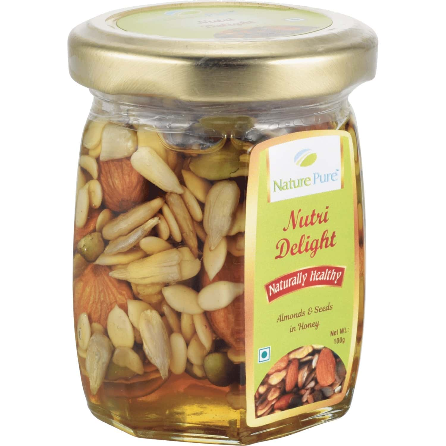 Nature Pure Nutri Delight Honey + Premium Quality Almonds & Seeds -pack Of 1 Jar X 100g