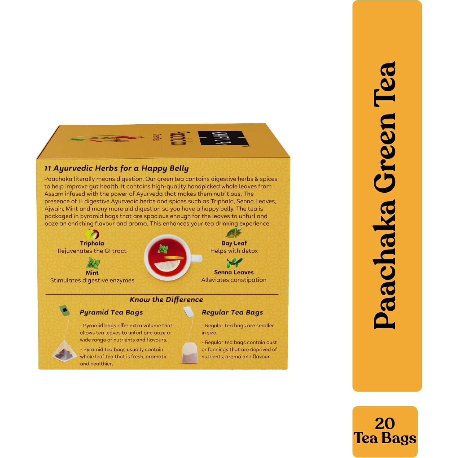 Kapiva Paachaka Green Tea   Supports Digestion   Enriched With Triphala, Bay Leaf And Others   20 Tea Bags