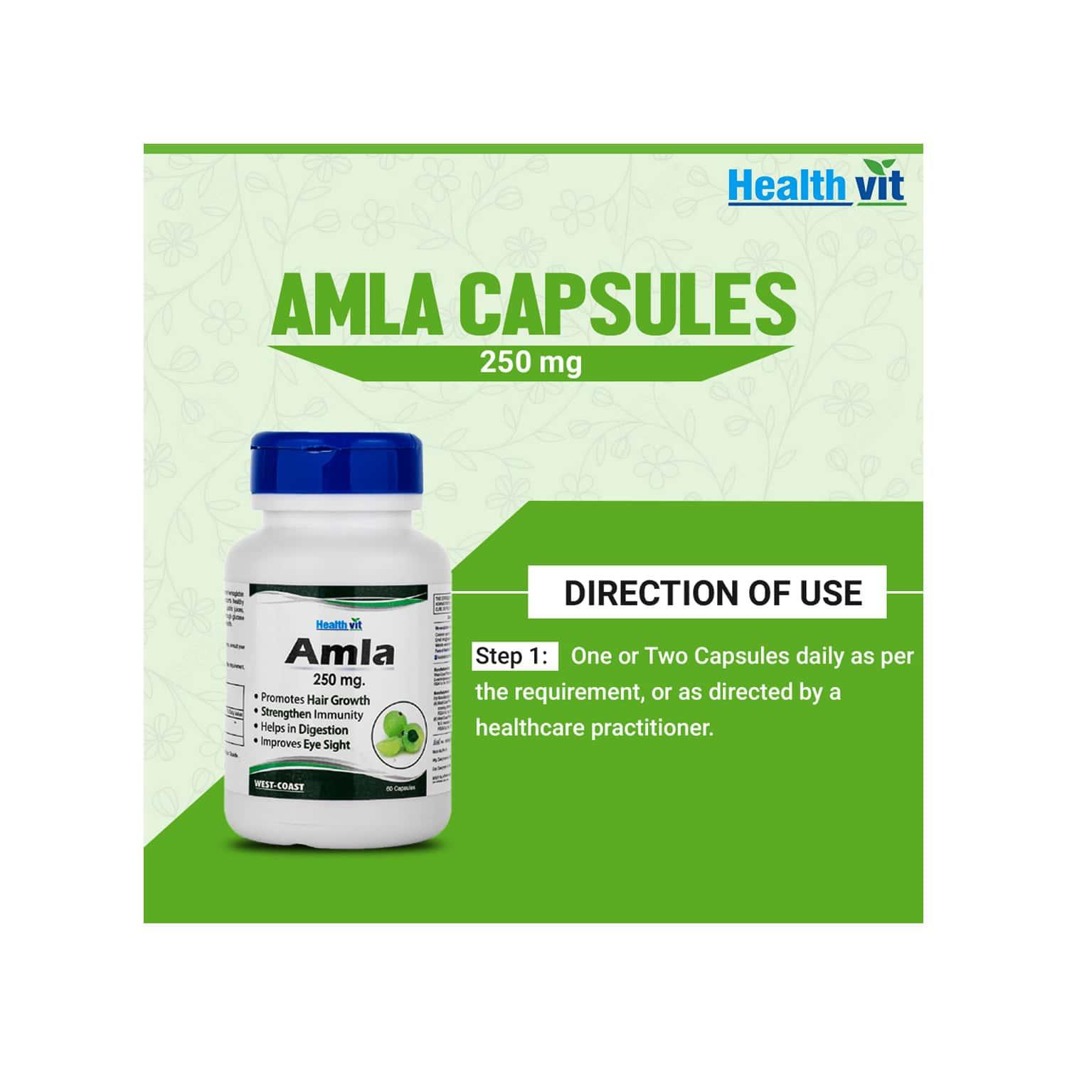 Healthvit Amla Powder 250 Mg -60 Capsules