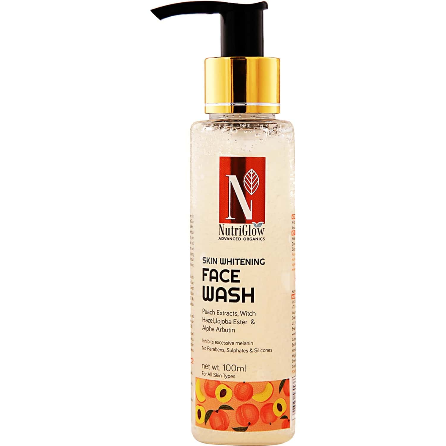 Nutriglow Advanced Organics Skin Whitening Face Wash With Peach Extracts (100 Ml ) / All Skin Types