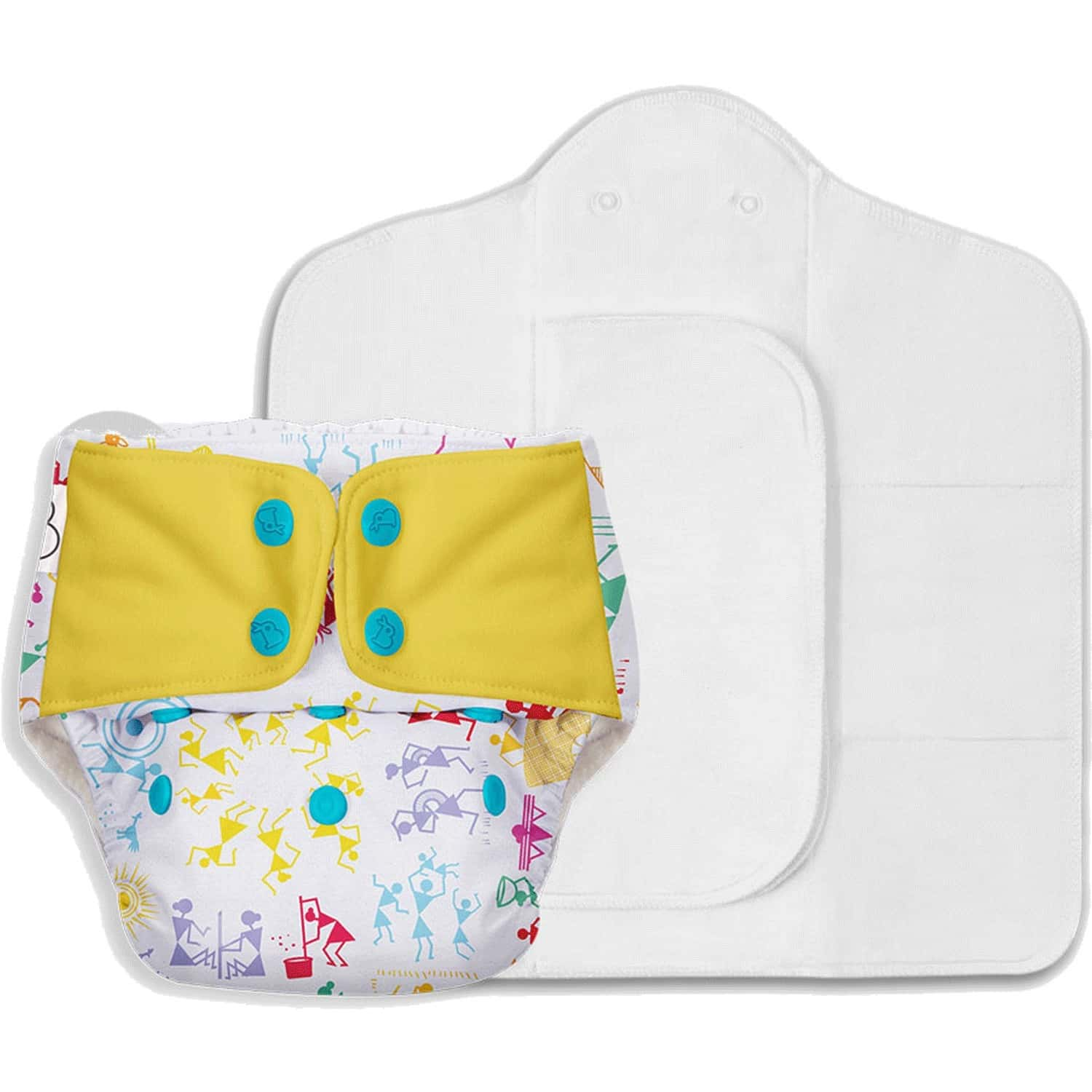 Superbottoms Freesize Uno - Reusable Cloth Diaper With Dry Feel Pads Set - White Warli