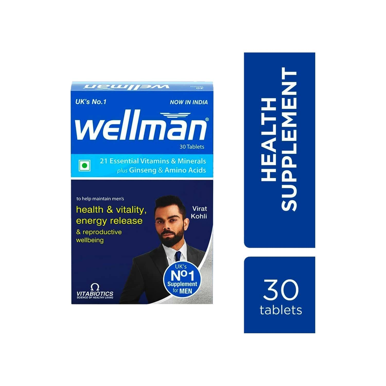 Wellman - Health Supplements (21 Essential Vitamins And Minerals, With Added Ginseng And Amino Acids) With Wellman 30 Tablet Free