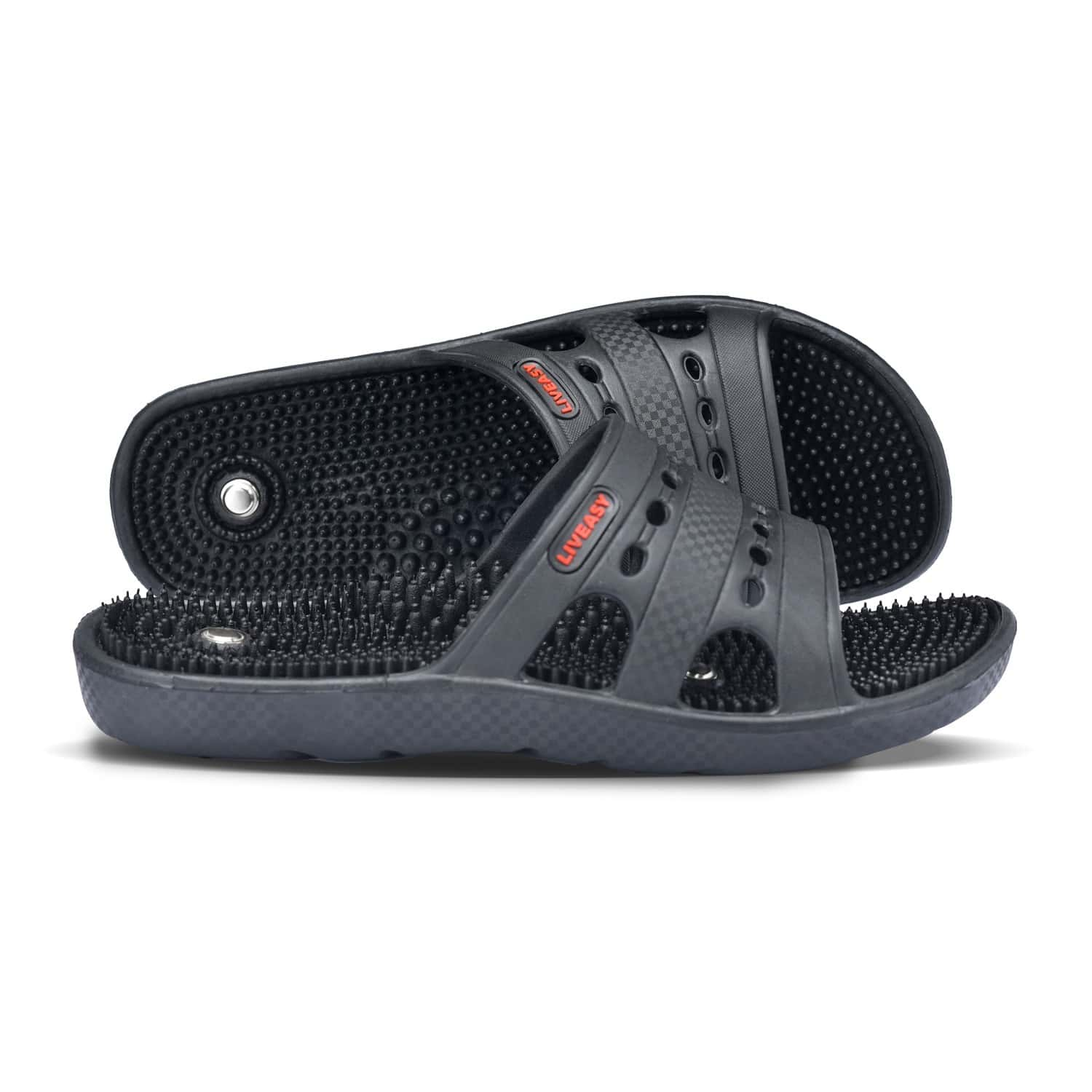Liveasy Ortho Care Acupressure Slippers - Women (black) Size 9
