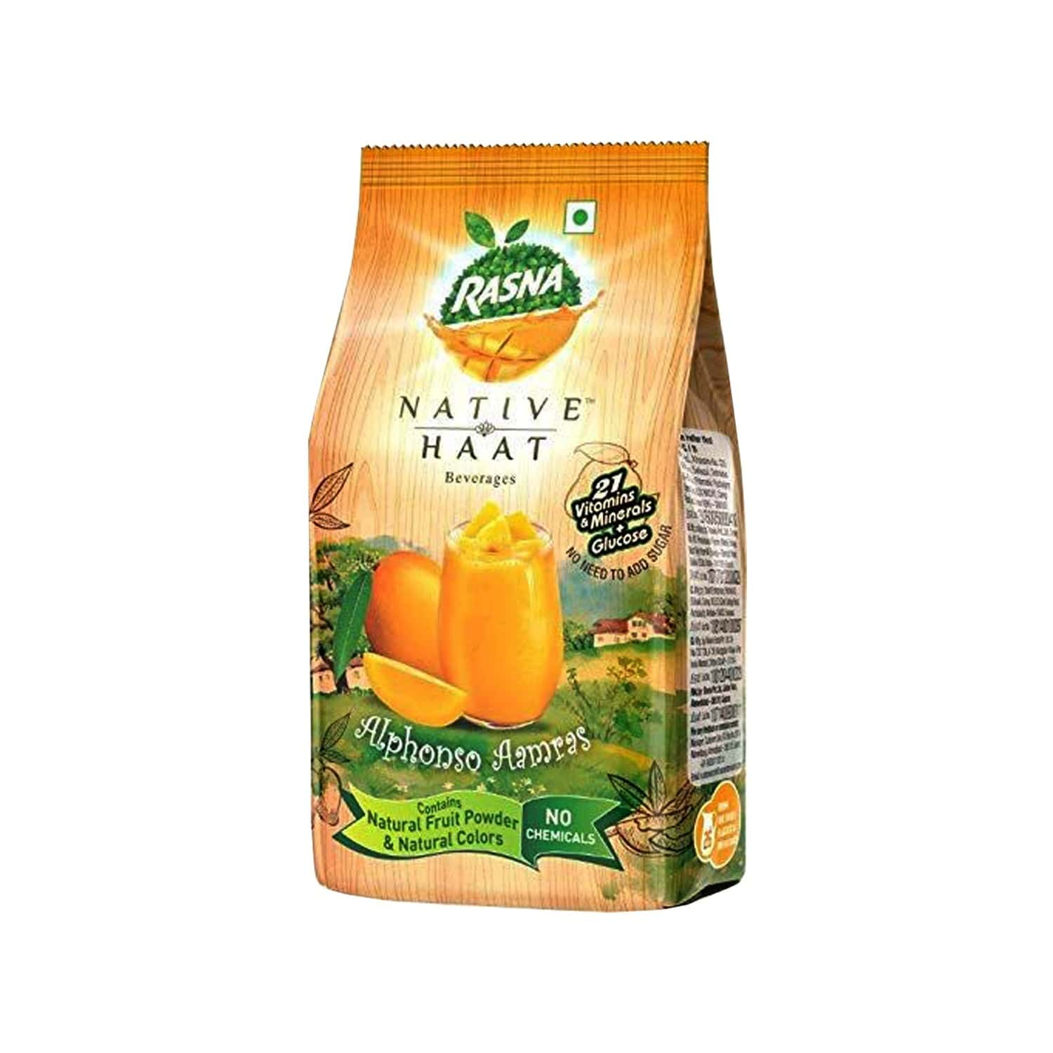 Rasna Native Haat Alphonso Aamras -instant Drink Concentrate Mix 500 G