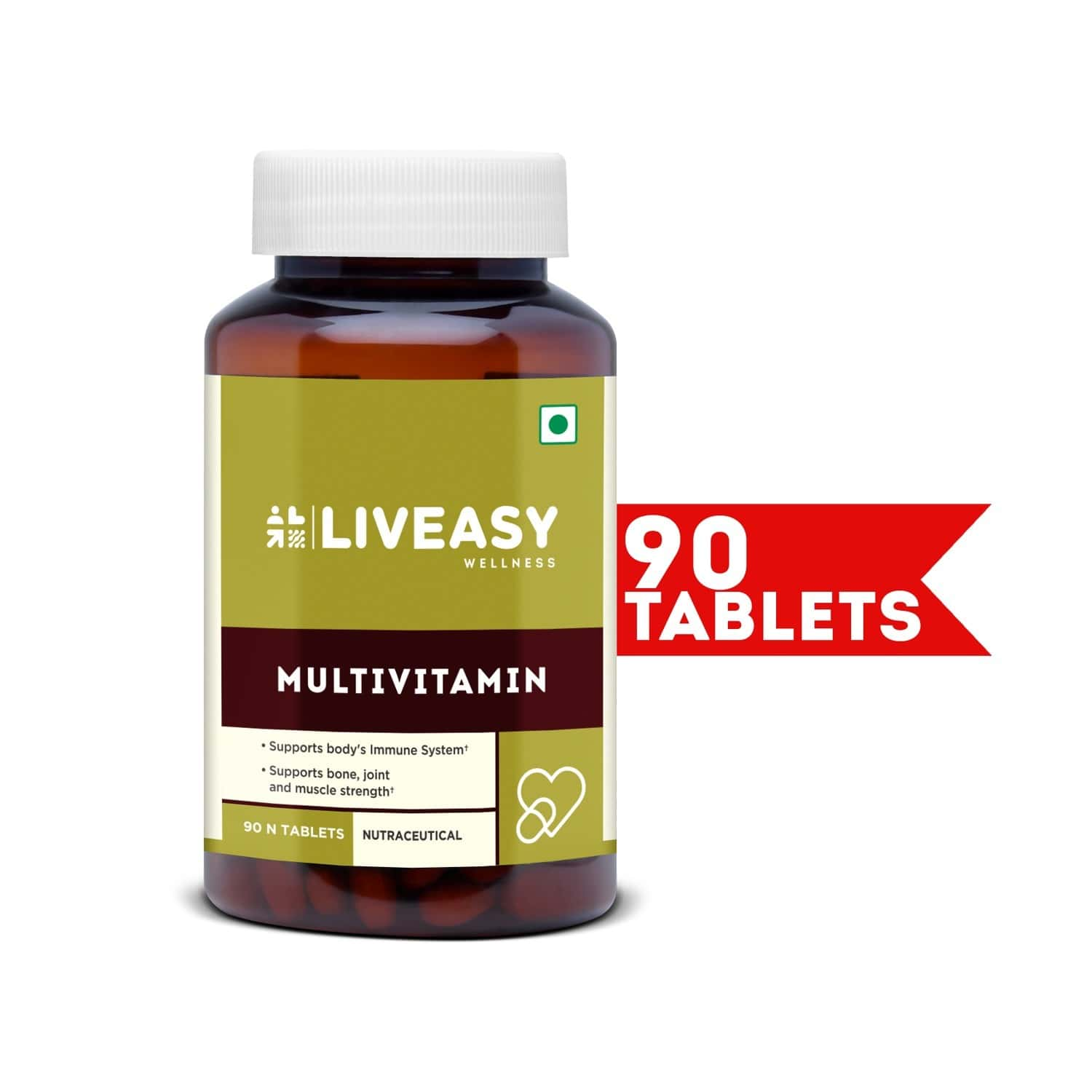 Liveasy Wellness Multivitamin Multimineral - Immunity Booster - Complete Nutrition - Bottle Of 90