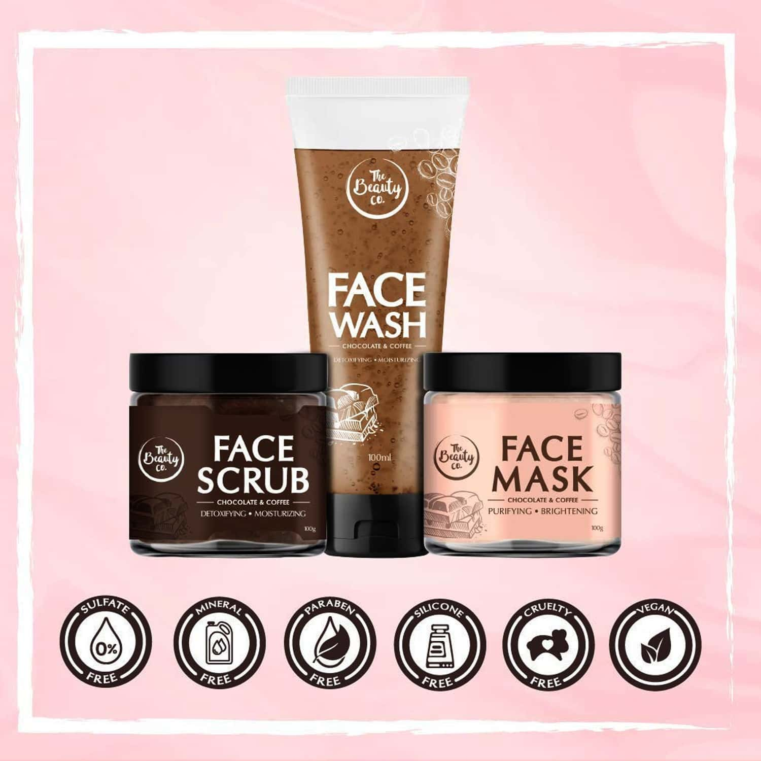 The Beauty Co. Get-set-glow Combo For Facial Skincare Routine (face Mask - 100gm / Face Scrub - 100gm / Face Wash - 100ml)
