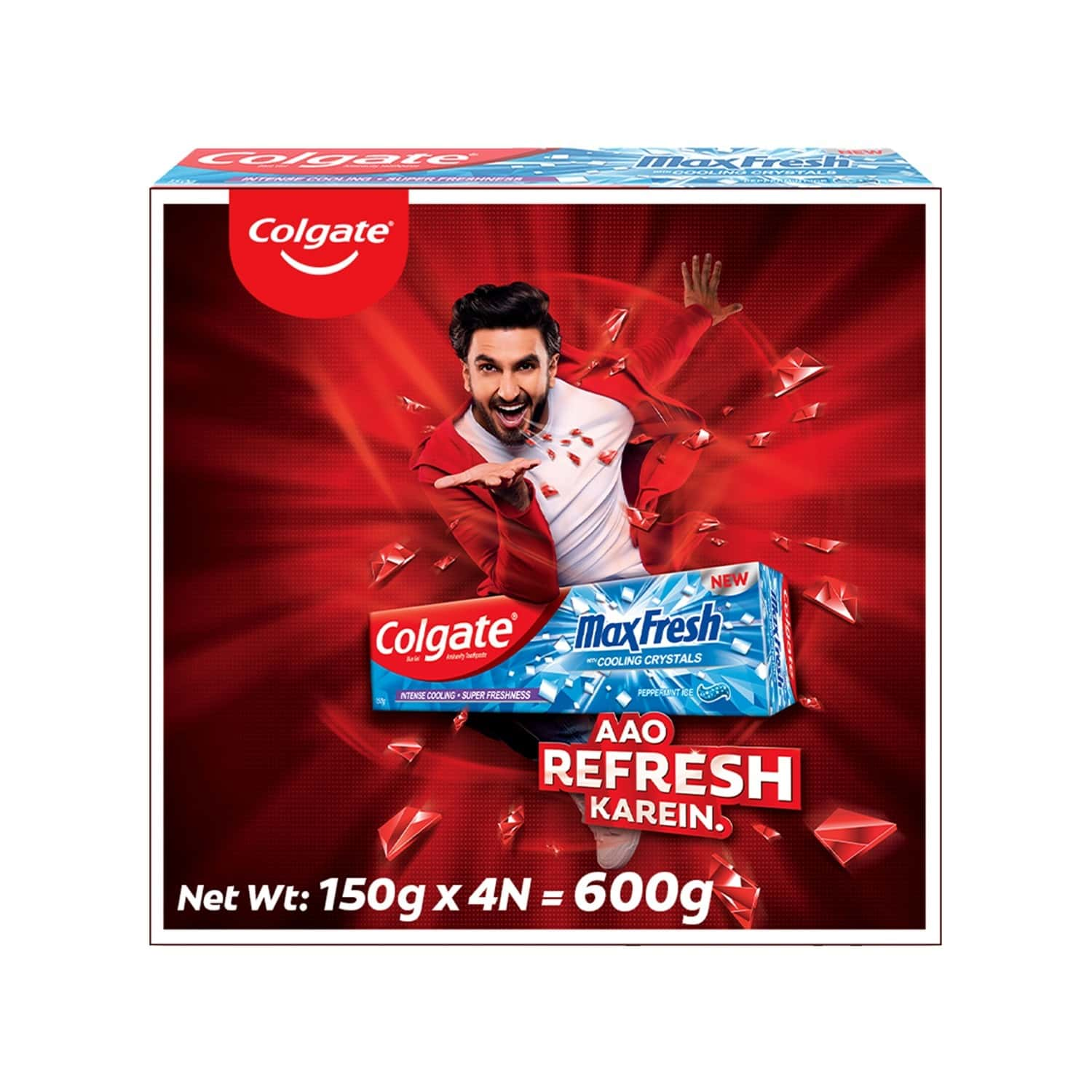 Colgate Maxfresh Toothpaste, Blue Gel Paste With Menthol For Super Fresh Breath, 150g X 4 (peppermint Ice, Saver Pack) - 600g