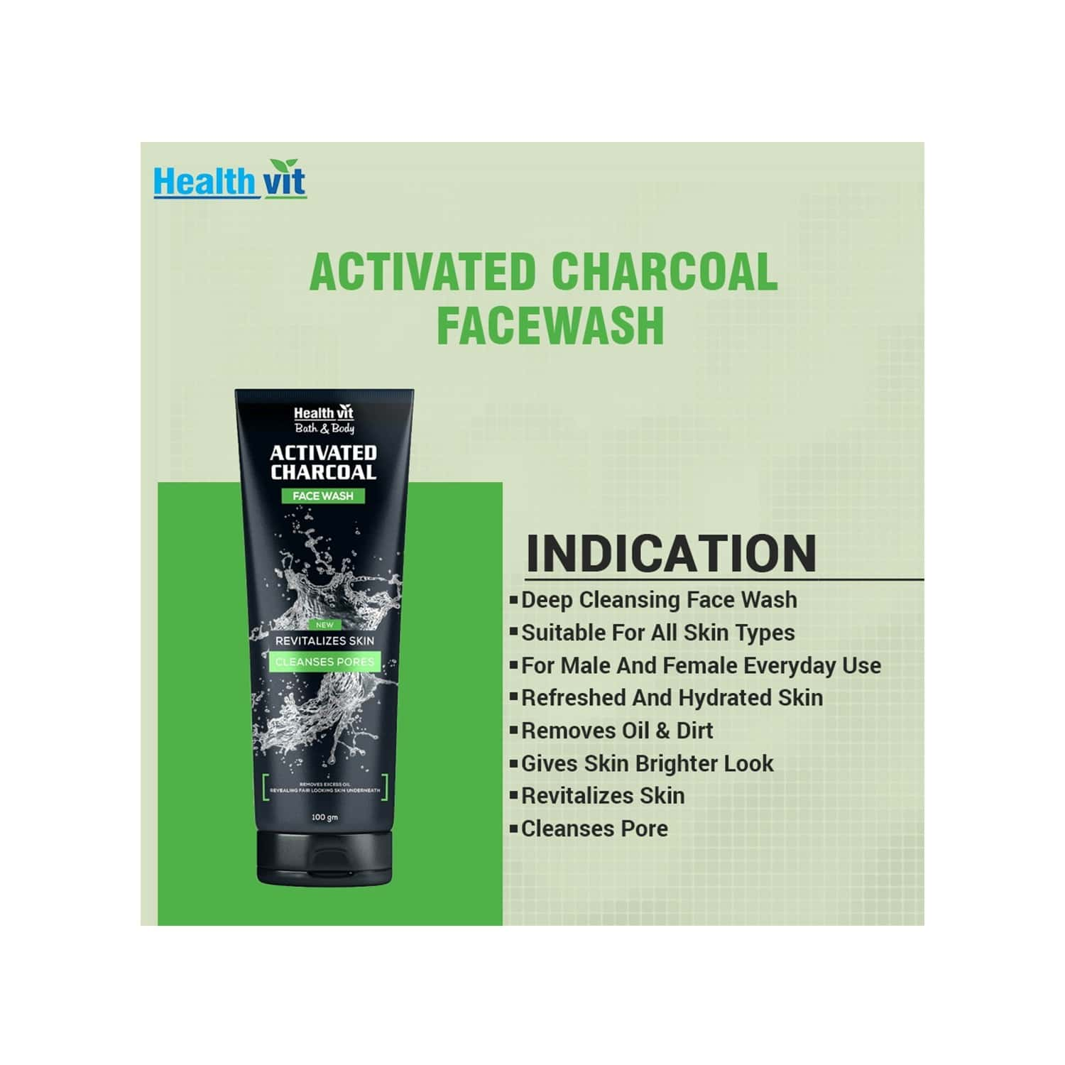 Healthvit Activated Charcoal  Face Wash  Tube Of 100 G
