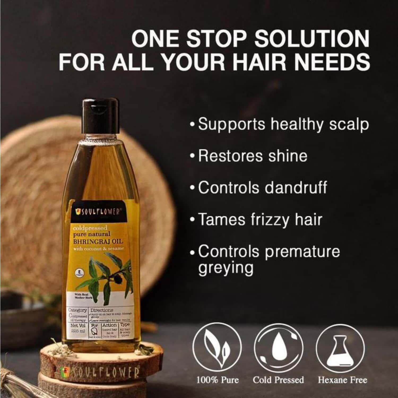 Soulflower Bhringraj Carrier Oil & Coconut Carrier Oil 225ml (set Of 2)