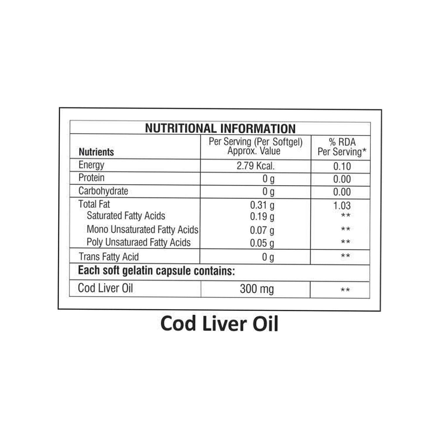 La Nature's Cod Liver Oil - 60 Softgel Capsules