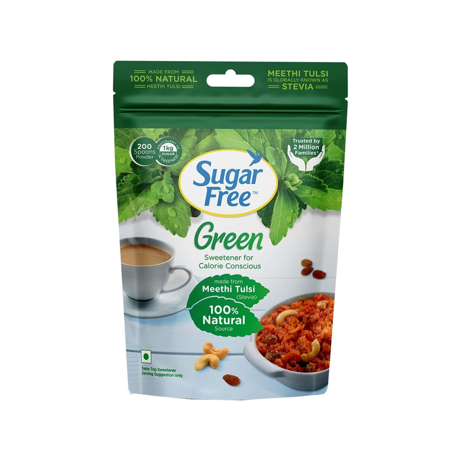 Sugar Free Green 100% Natural Made From Stevia Pouch - Pack Of 2 (200gm X 2)