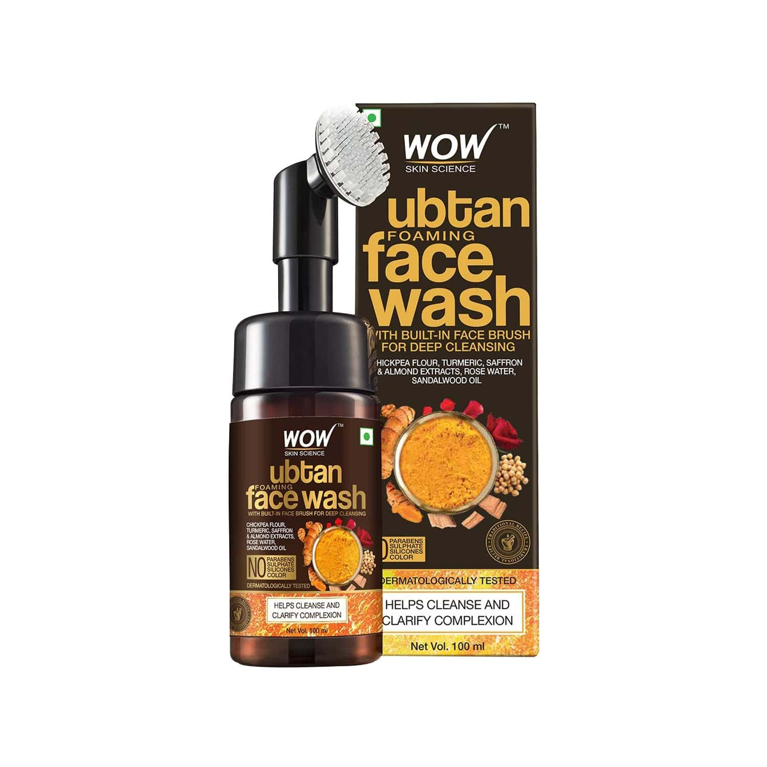 Wow Skin Science Ubtan Foaming Face Wash With Built-in Brush - 100 Ml