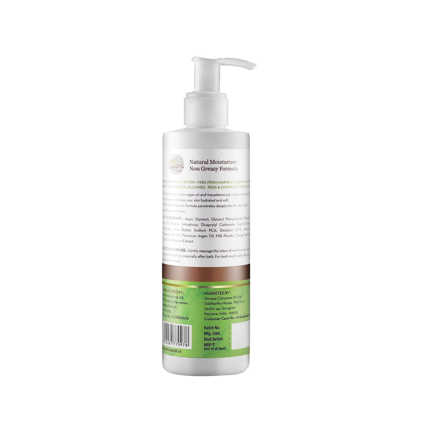 Mamaearth Healing Natural Body Lotion With Argan Oil & Macadamia Nut For Women & Men With Dry Skin - 250ml