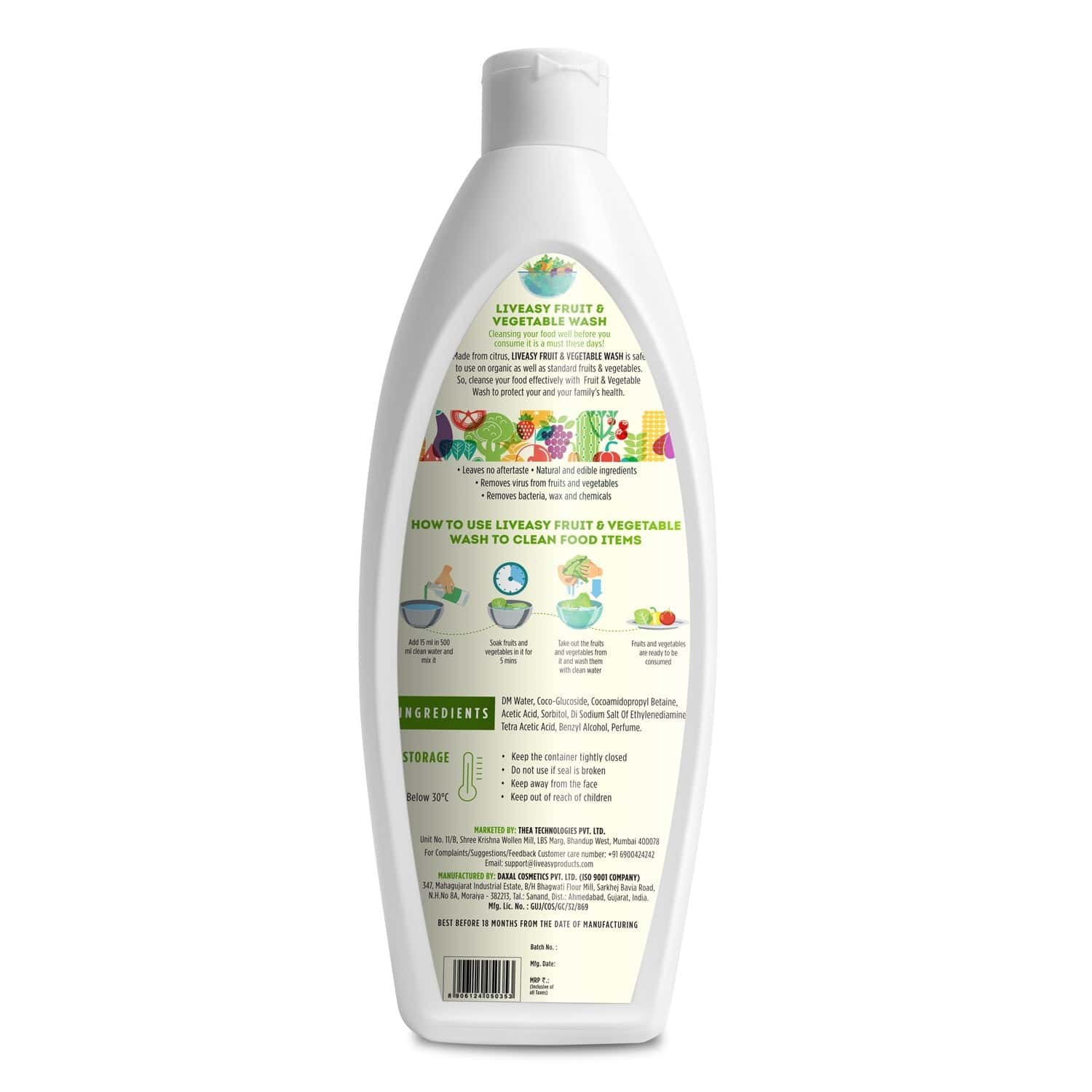 Liveasy Essentials Instant Fruit And Vegetable Wash - Removes Bacteria & Chemicals -500 Ml