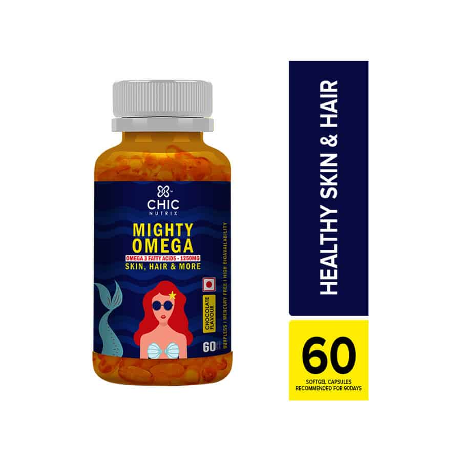 Chicnutrix Mighty Omega - Omega 3 Fatty Acids 1250 Mg For Skin, Hair & More - Chocolate Flavour - 60 Softgel Capsules