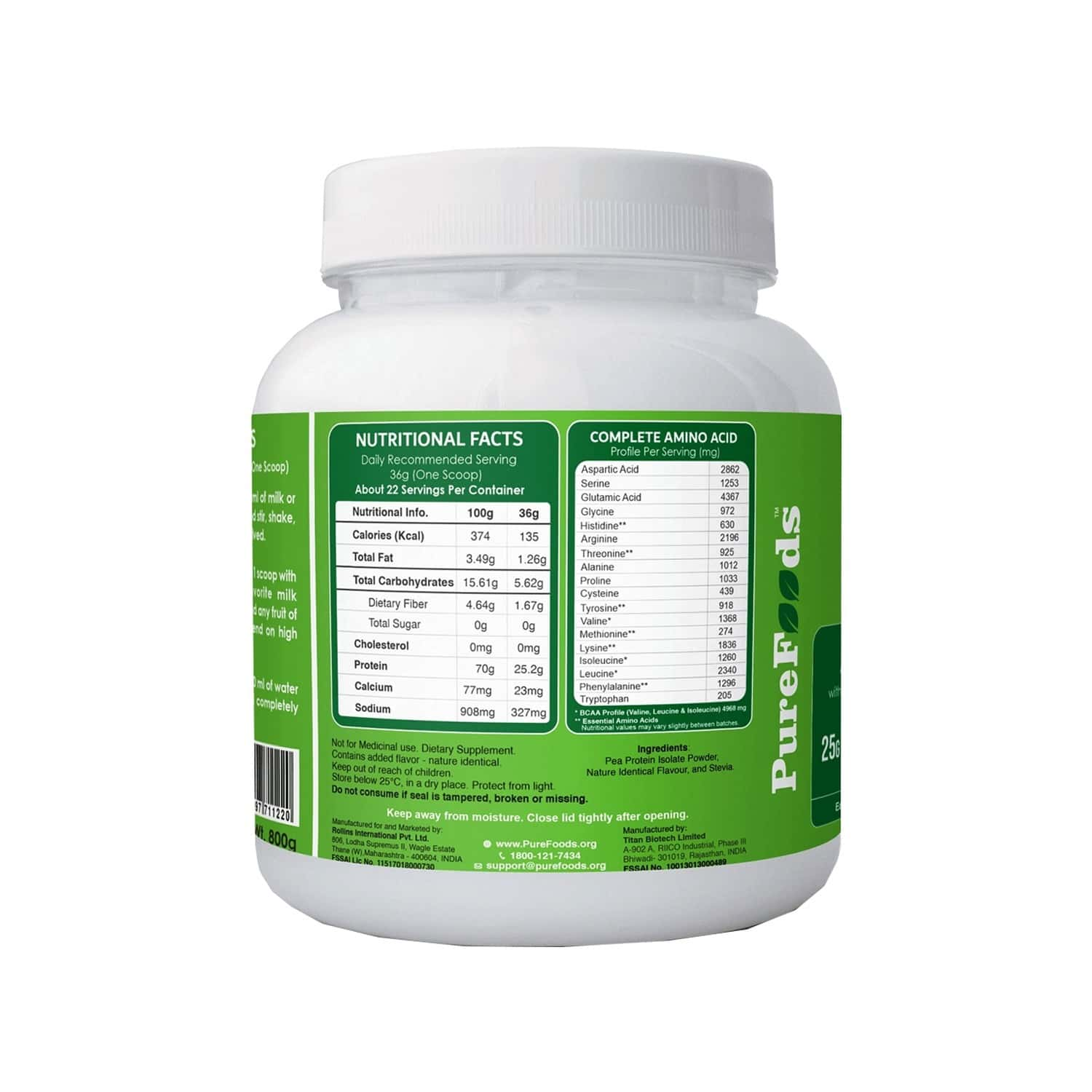 Purefoods Pf Pea Protein Banana Flavour - 800g