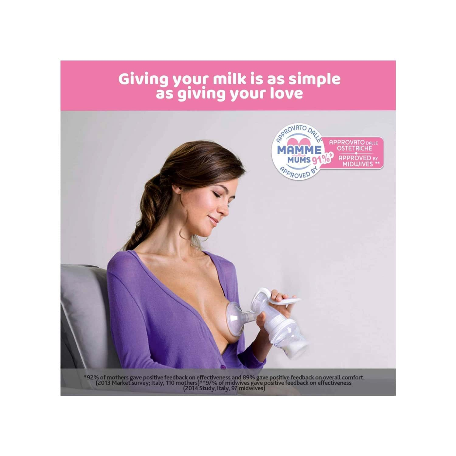 Chicco Natural Feeling Manual Breast Pump, Effective & Gentle Expression Of Milk, Bpa Free