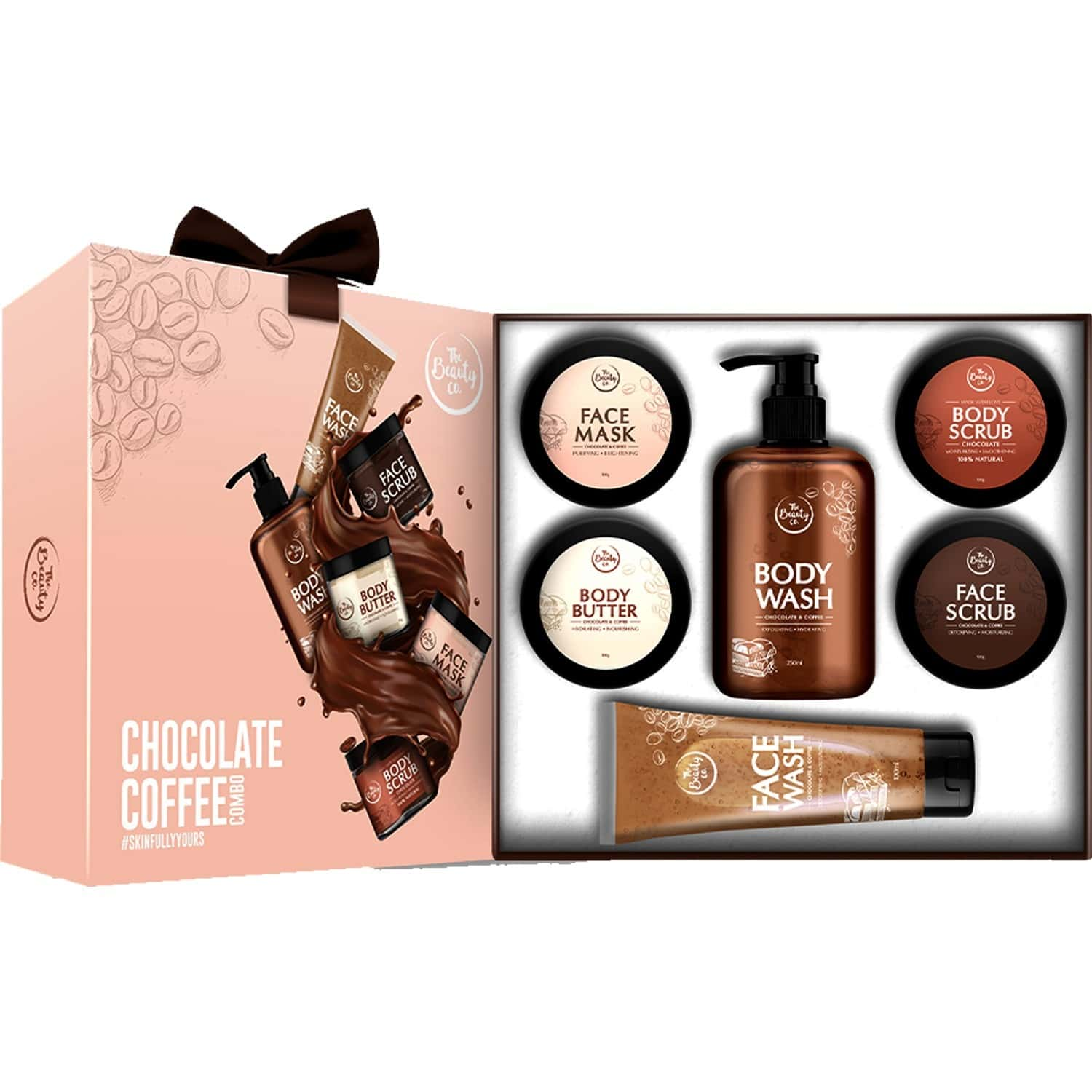 The Beauty Co. Chocolate And Coffee Gift Set (set Of 6) (body Scrub - 100gm / Body Butter - 100gm / Body Wash - 250ml / Face Mask - 100gm / Face Scrub - 100gm / Face Wash - 100ml)