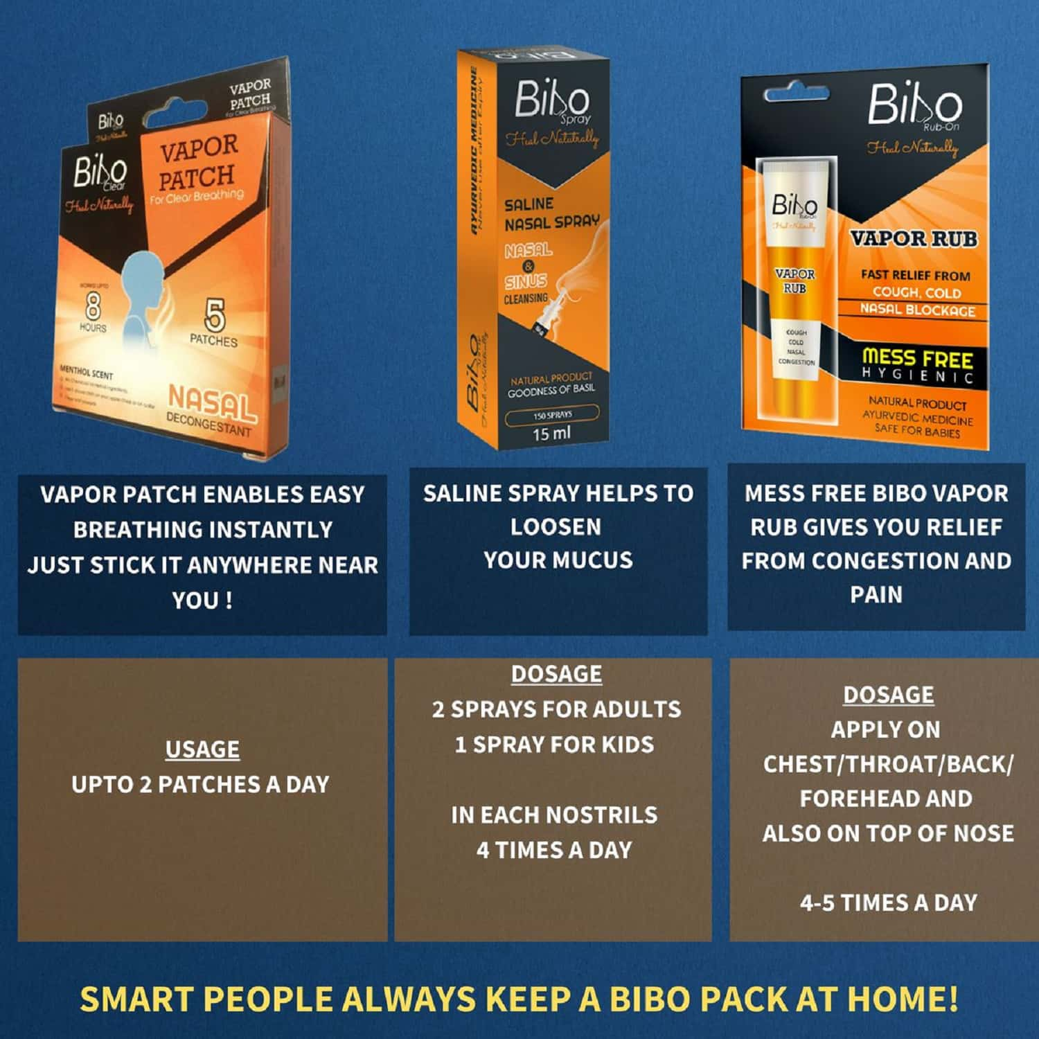 Bibo Severe Cold Relief Pack - Nasal Blockage & Headache - Runny Nose - Natural Therapy - 3 Products