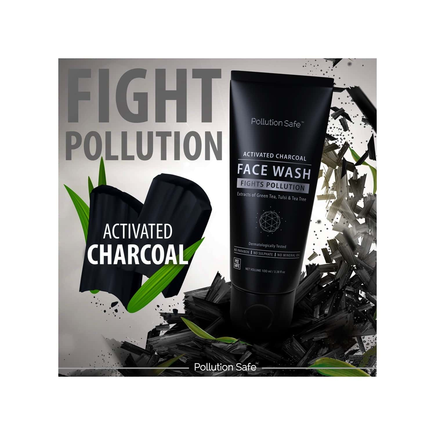 Pollution Safe Activated Charcoal Face Wash Goodness Of Green Tea And Tulsi - 100 Ml