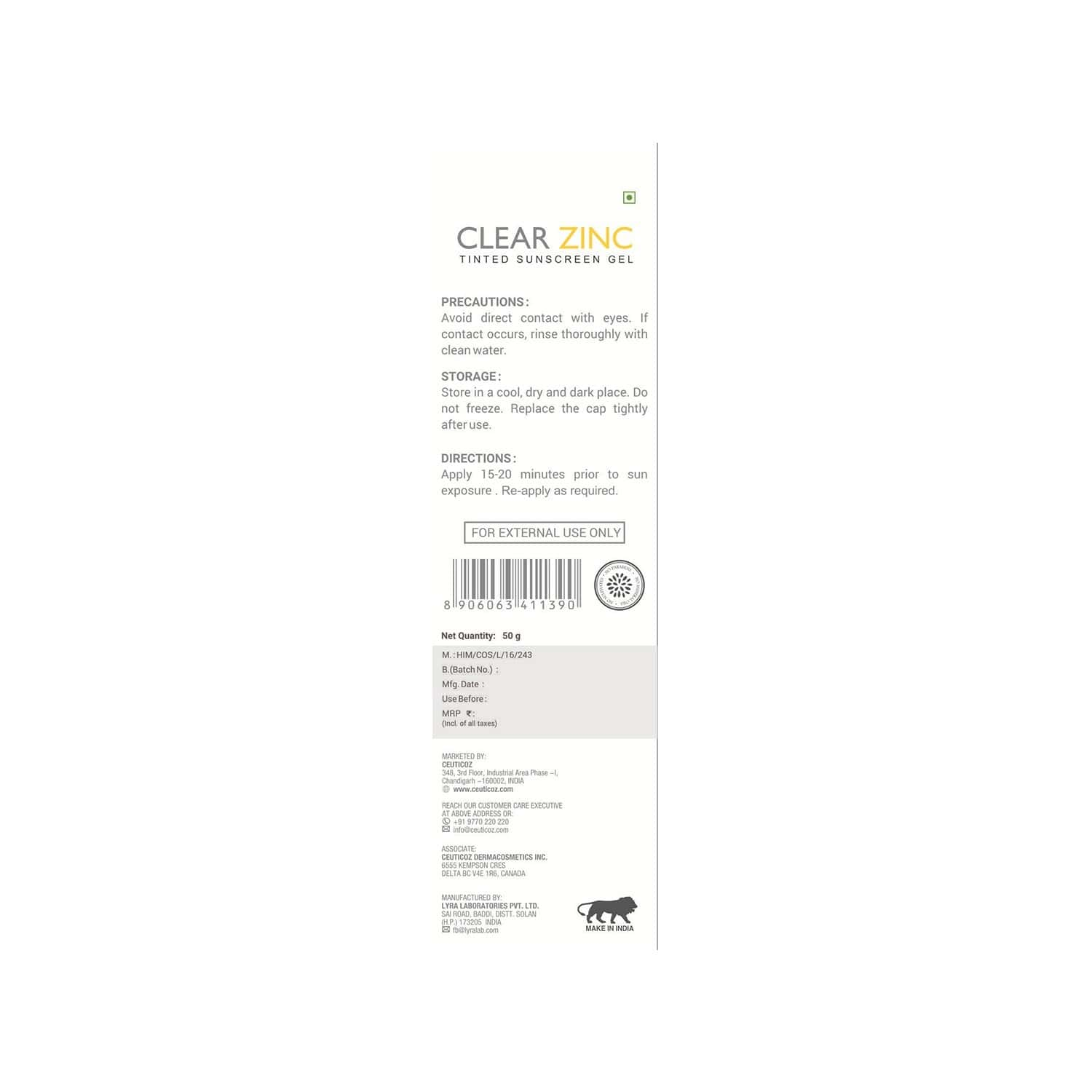 Ceuticoz Clear Zinc Tinted Sunscreen Gel - 50 Gm