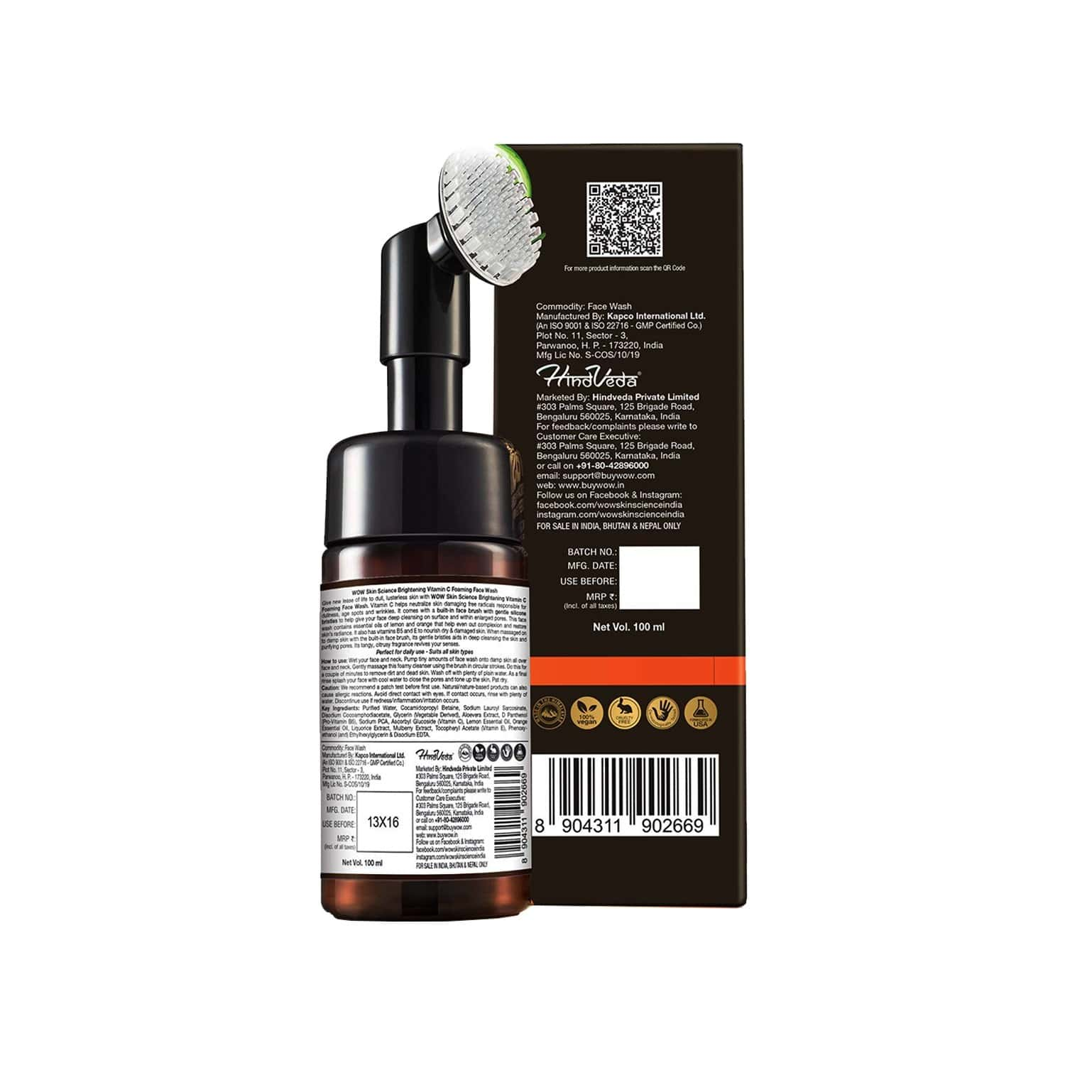 Wow Skin Science Vitamin C Foaming Face Wash (with Brush ) - 100ml