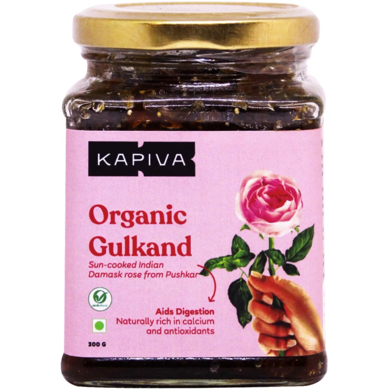 Kapiva Organic Gulkand - Made From Sun Cooked Damask Rose - Natural Rich In Calcium And Antioxidants - Helps In Digestion - 300g