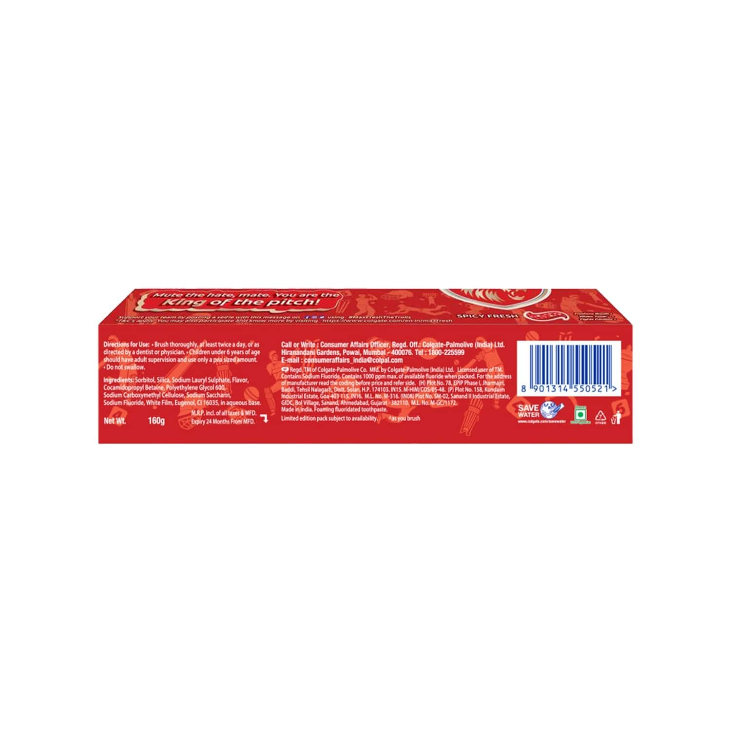 Colgate Maxfresh Red Spicy Fresh Gel Toothpaste - 160 Gm - Punjab Kings Special Edition Pack