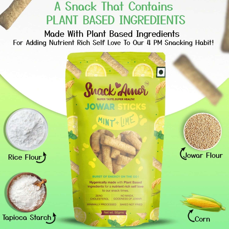 Snack Amor Jowar Sticks Mint N Lime - Nutrition Snacks-pack Of 1x 50g