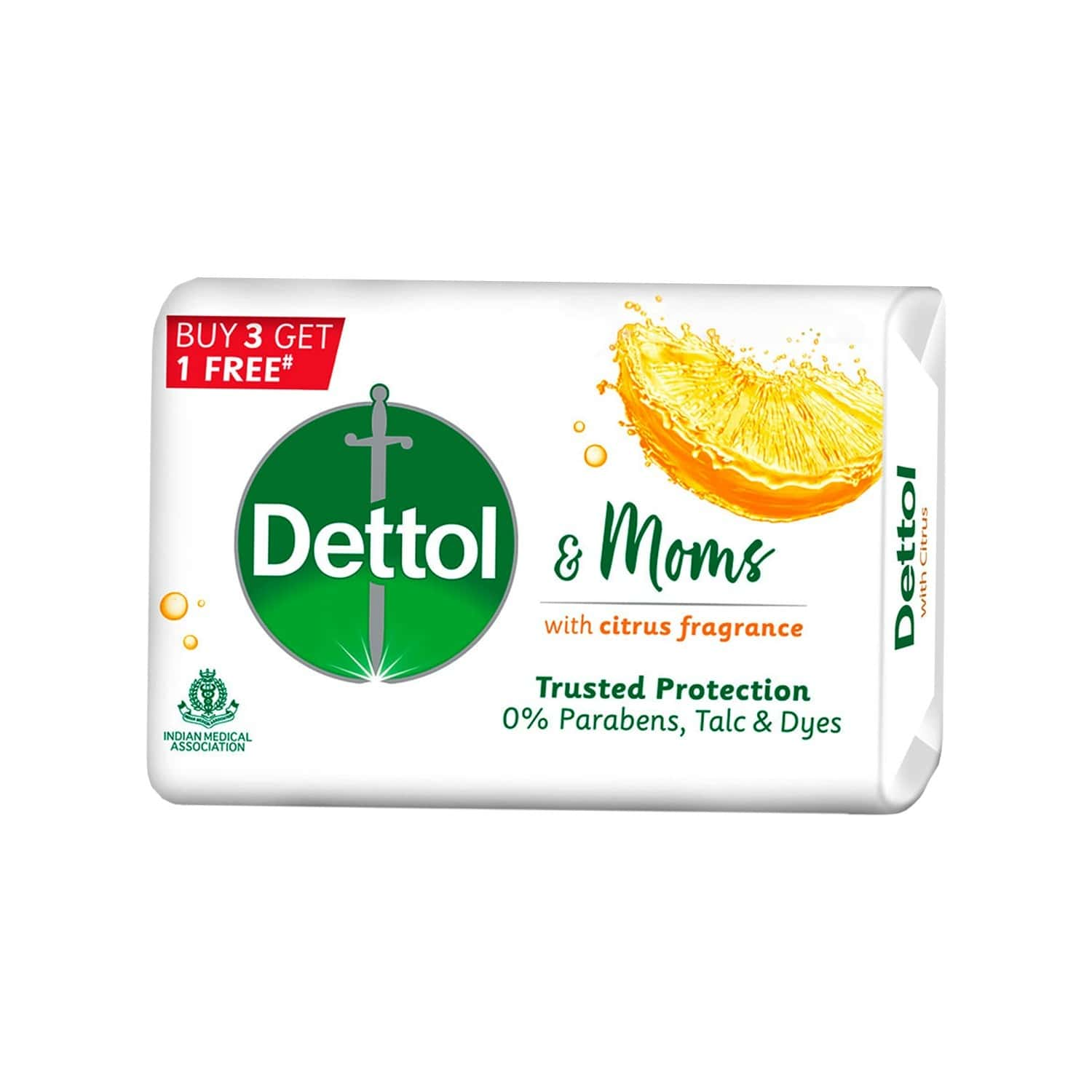 Dettol & Moms Bathing Soap Citrus - 125gm ( Buy 3 Get 1 )