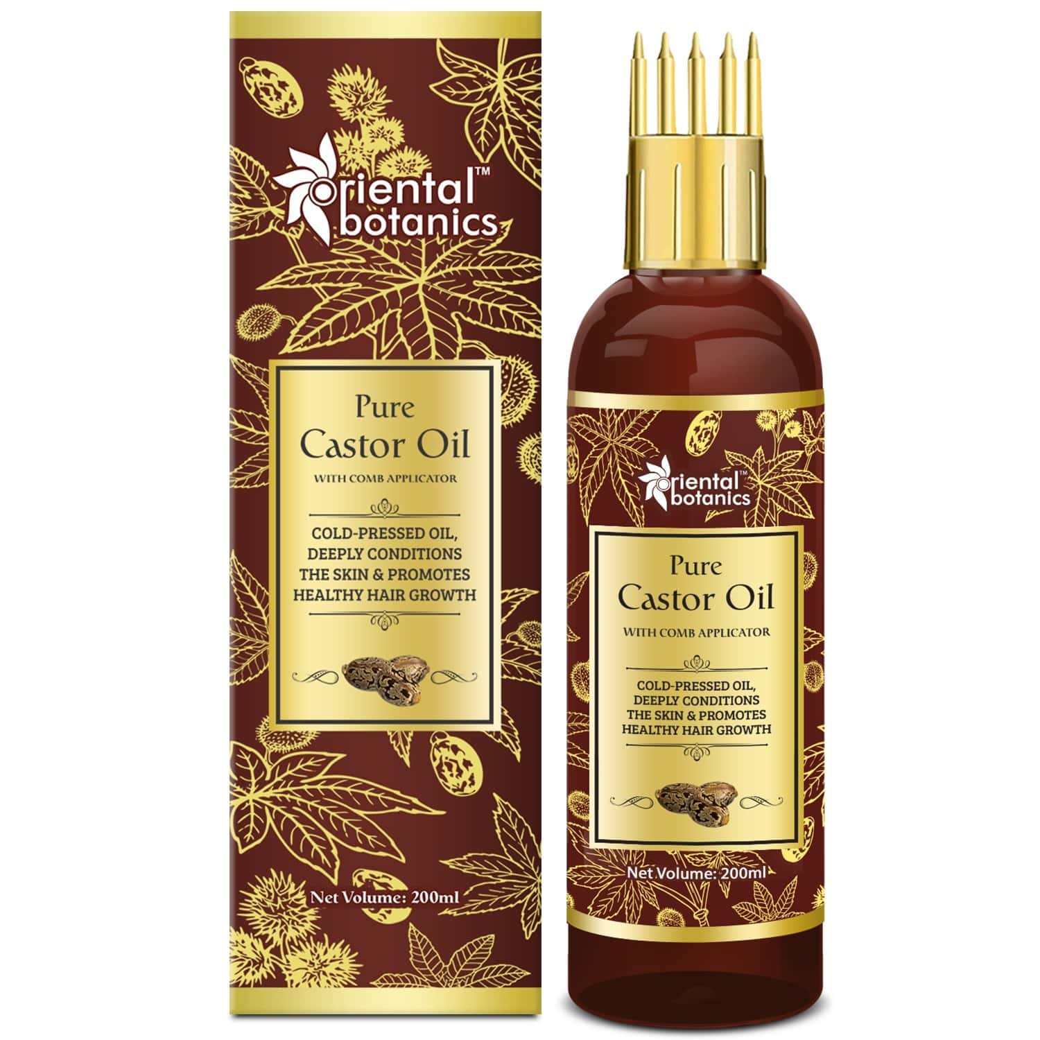 Oriental Botanics Castor Oil - For Eyelashes, Hair And Skin Care - With Comb Applicator - Pure Oil With No Mineral Oil, Silicones - 200 Ml